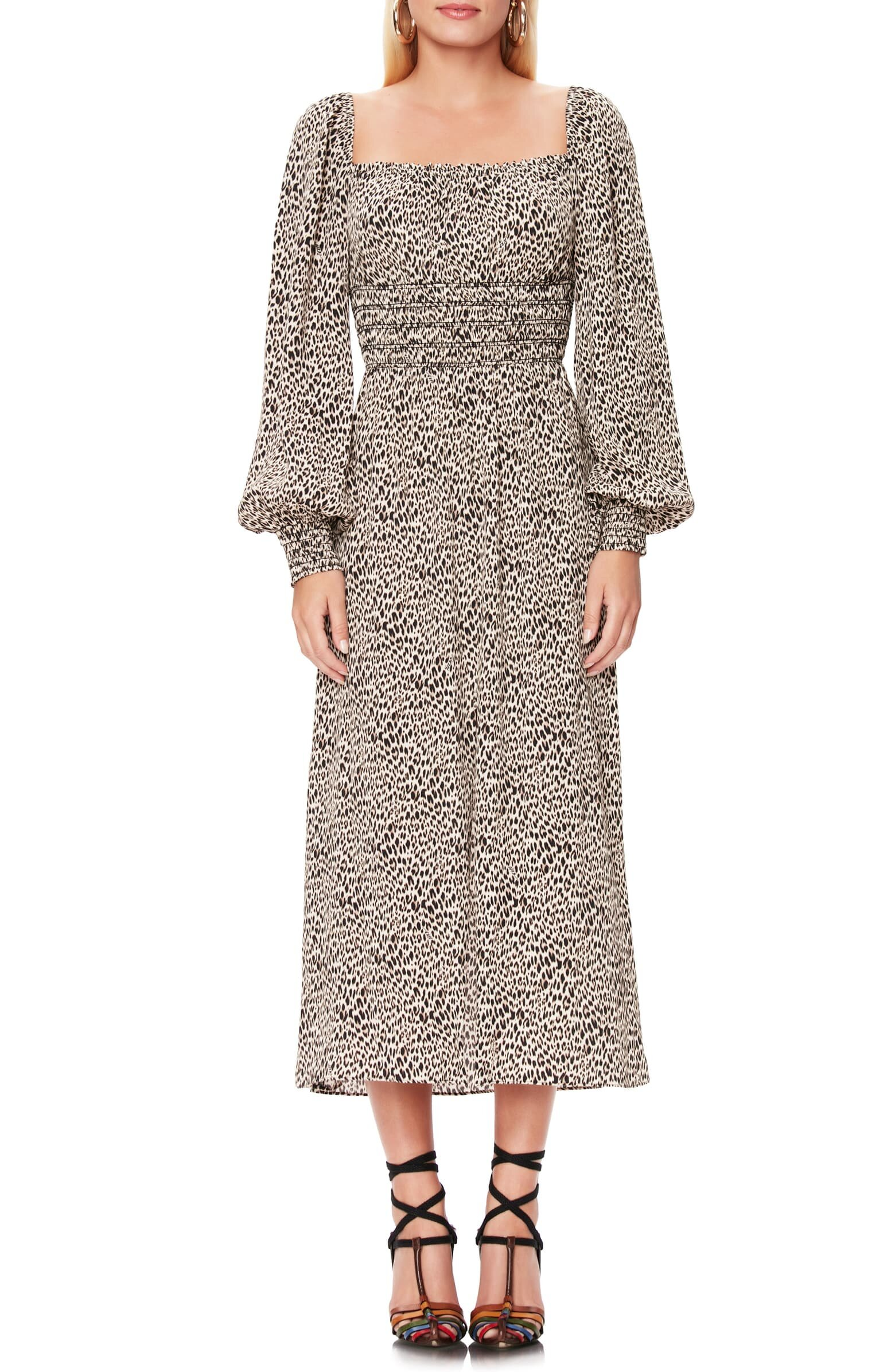 SHOP  AFRM Miro Leopard Print Long Sleeve Dress