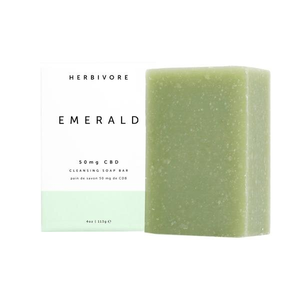 Herbivore Botanicals Emerald CBD Cleansing Bar Soap   Formulated with nourishing and moisturizing hemp seed oil, pore-purifying kaolin clay, and 50mg of certified organic full-spectrum CBD, which helps to reduce the appearance of redness.
