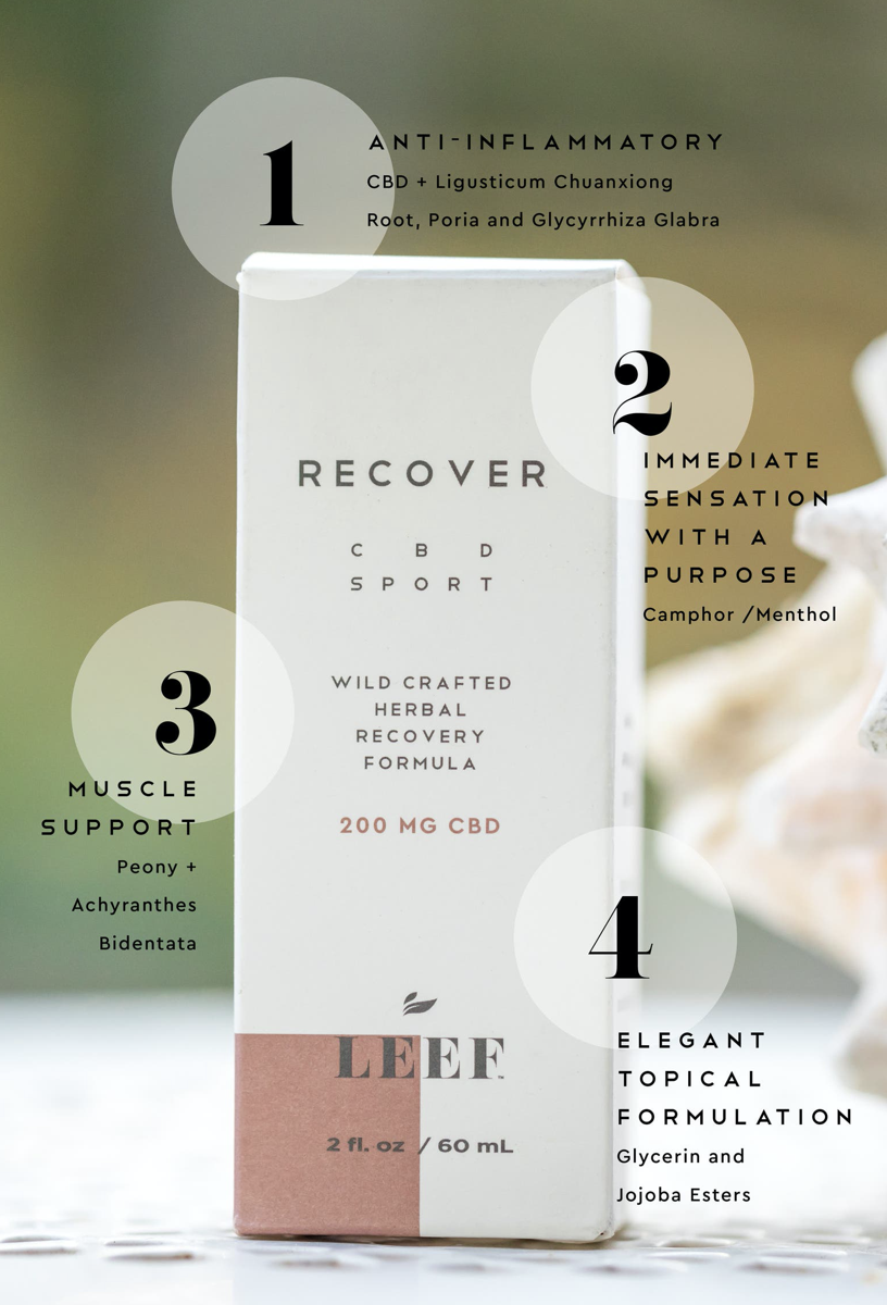 Leef Organics Recover CBD Sport Herbal Recovery Formula  - Full-spectrum, whole plant CBD blended with wildcrafted herbs that offers an herbal approach to recovery to help provide relief to aches and pains
