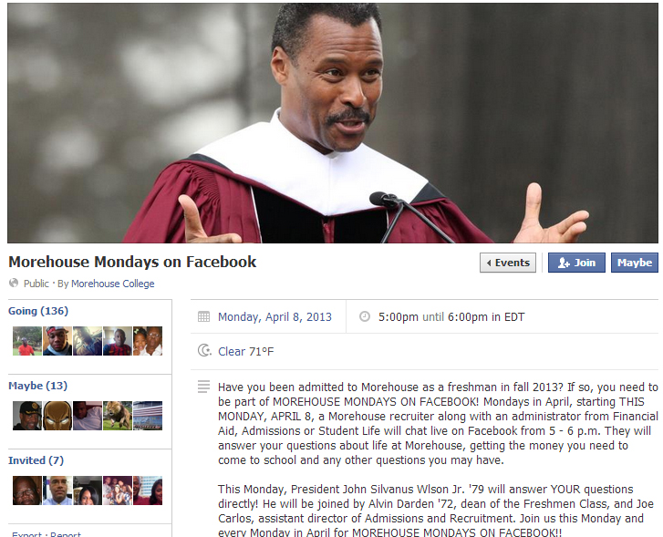 Using an FB Event for a chat. Brilliant. Morehouse Social Media = Wizards.