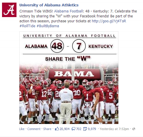 Roll Tide! Too bad your coach is such a... nevermind. ;)