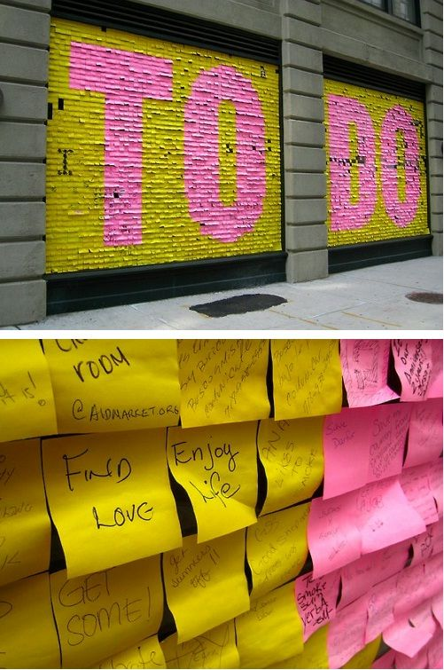 To Do post-it wall in NYC.