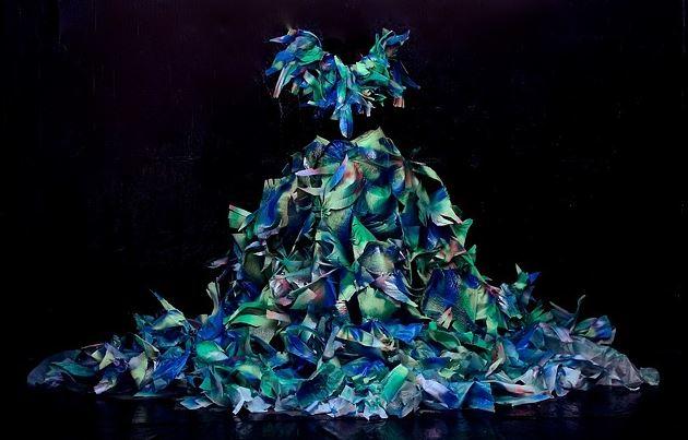 Dress created by Morrisa Maltz for the short film The Caretaker  Made from flooring foam, staples, spray paint