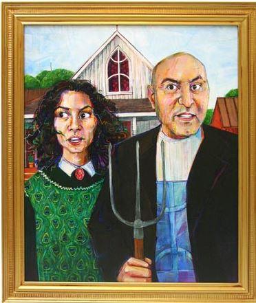Gwenn Seemel   Amazigh Gothic (Algerian-American, Taous and Cherif Khazem)    2008   acrylic on panel  35 x 30 inches