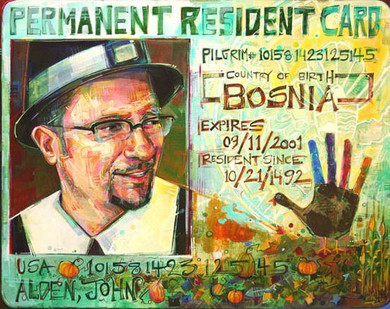 Gwenn Seemel   Ellis Island Pilgrim (Bosnian-American, Dino Bajagilovic)    2008   acrylic on canvas  24 x 30 inches