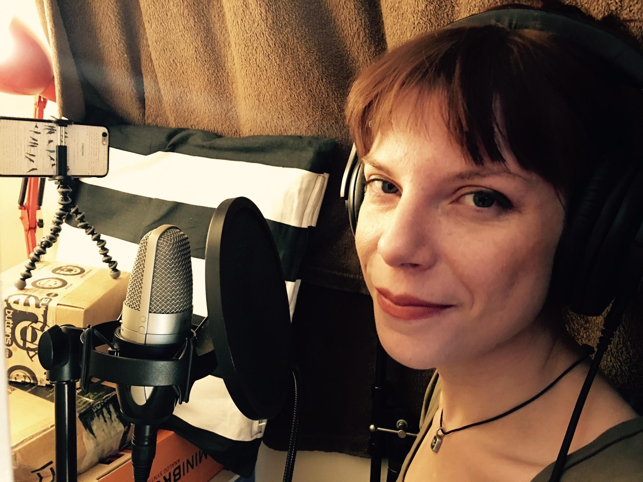 Sarah in studio with mic.jpeg