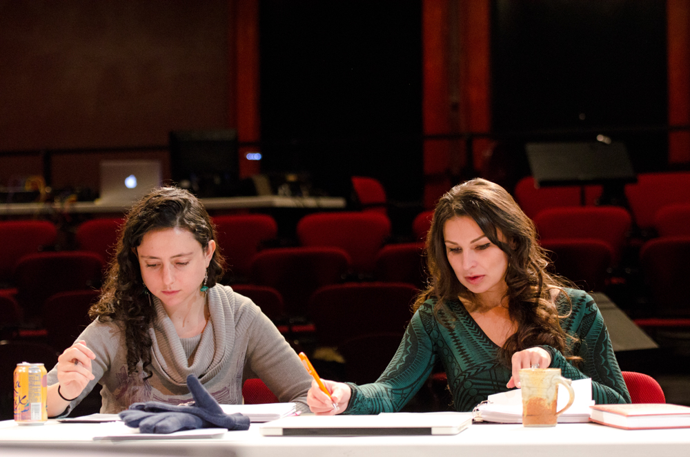 Director Danya Taymor (left) and Core Writer Martyna Majok at the Playwrights' Center in January 2017, part of the 2016-17 Ruth Easton New Play Series // Photo by Paula Keller