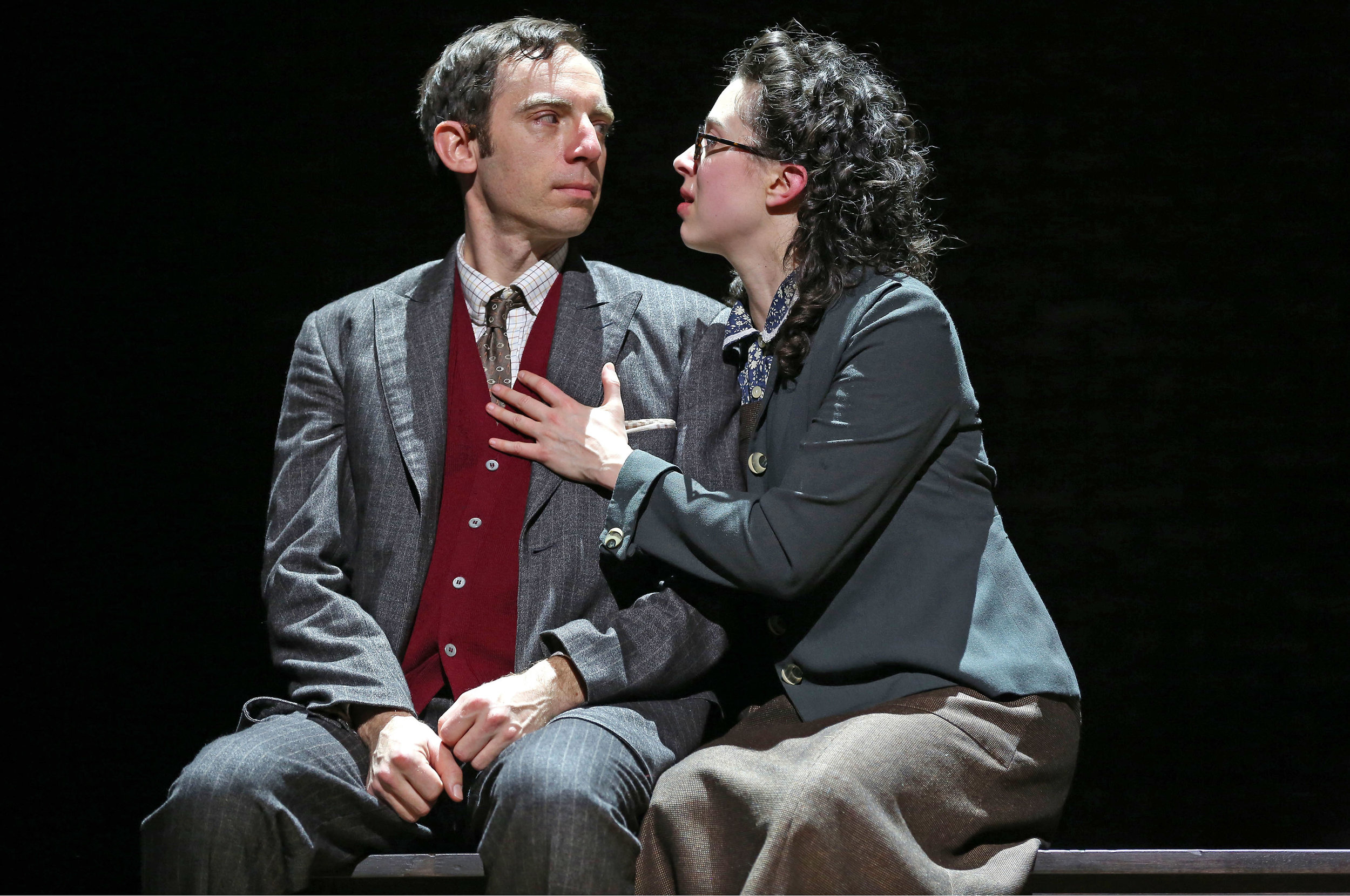 Max Gordon Moore as Sholem Asch and Adina Verson as Madje Asch in INDECENT, a new play by Paula Vogel, co-created by Paula Vogel and Rebecca Taichman, and directed by Rebecca Taichman, at the Cort Theatre, 138 West 48th Street. Credit: © Carol Rosegg