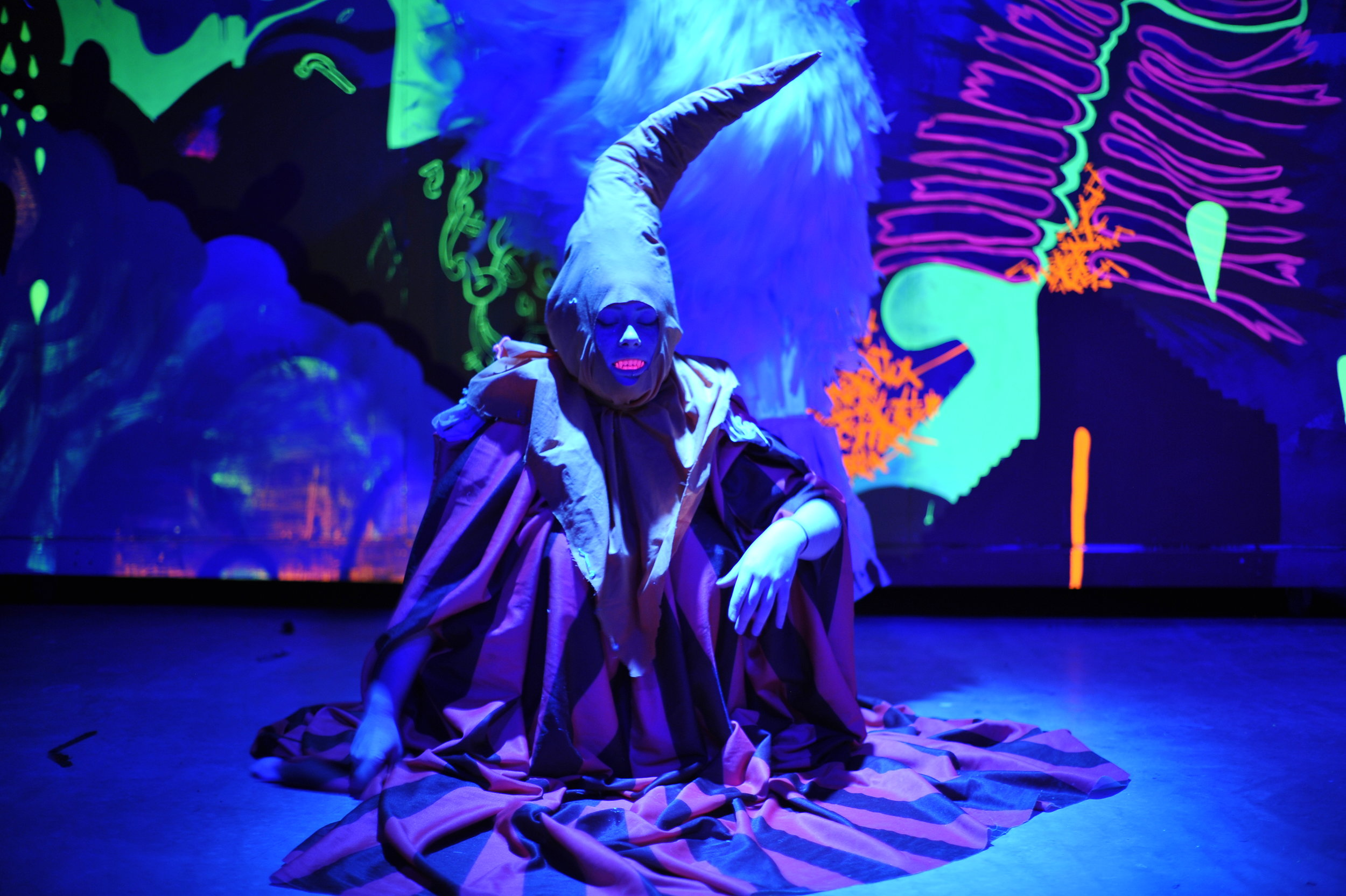 A Meow Wolf Artist in The Moon Is To Live On - Courtesy of Kate Russell