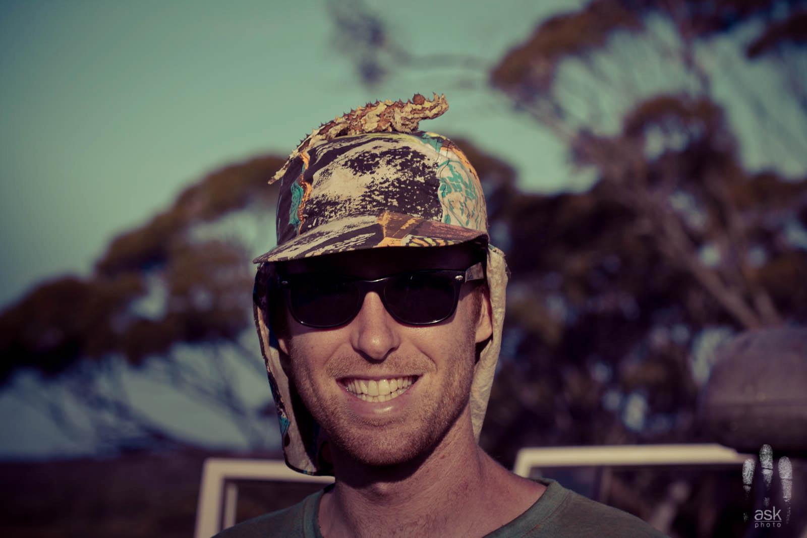Angus Kennedy with a thorny devil, Moloch horridus . Thurlga Station, South Australia, 2012.