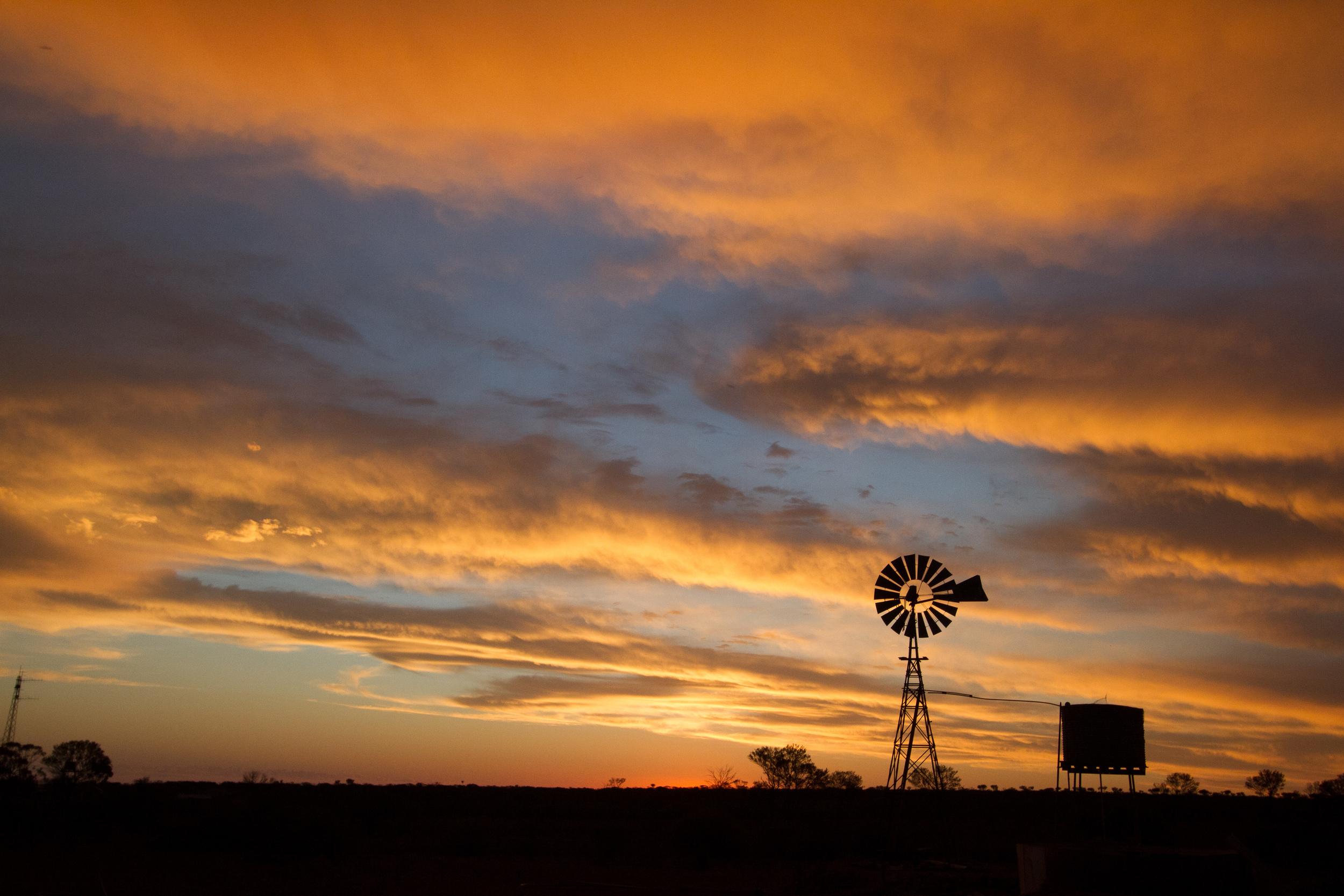 Sunset over Kokatha Station, South Australia, 2012. Photo by Angus Kennedy.