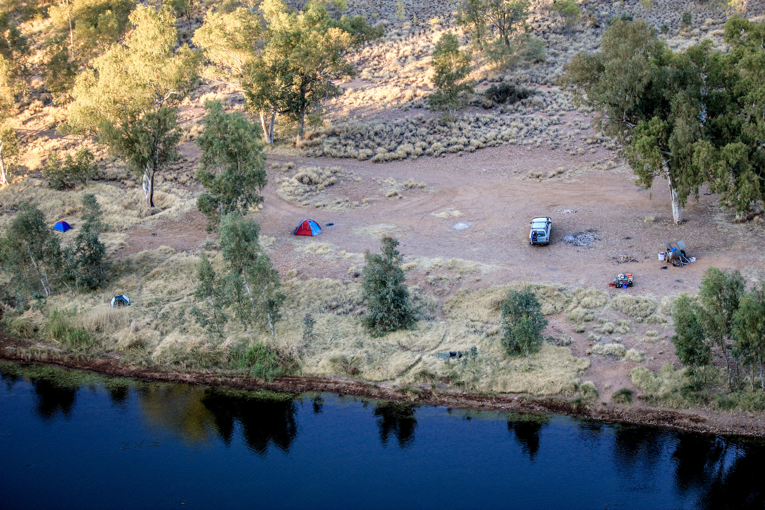 A closer look down on our campsite. Photo by Rebecca Sullivan.