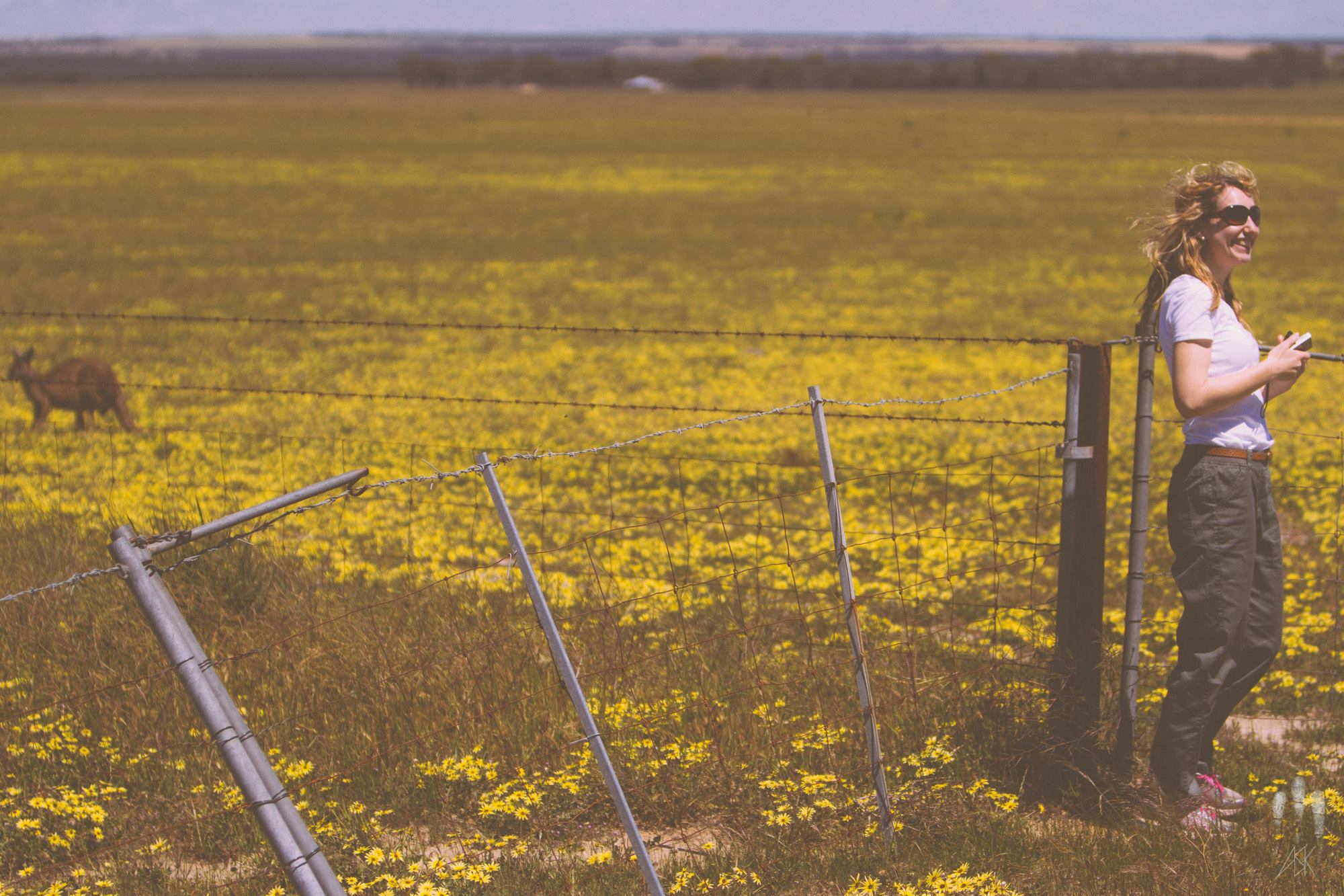 Mary with a kangaroo in a field of daisies. near Hyden, Western Australia, 2014. Photo by Angus Kennedy.
