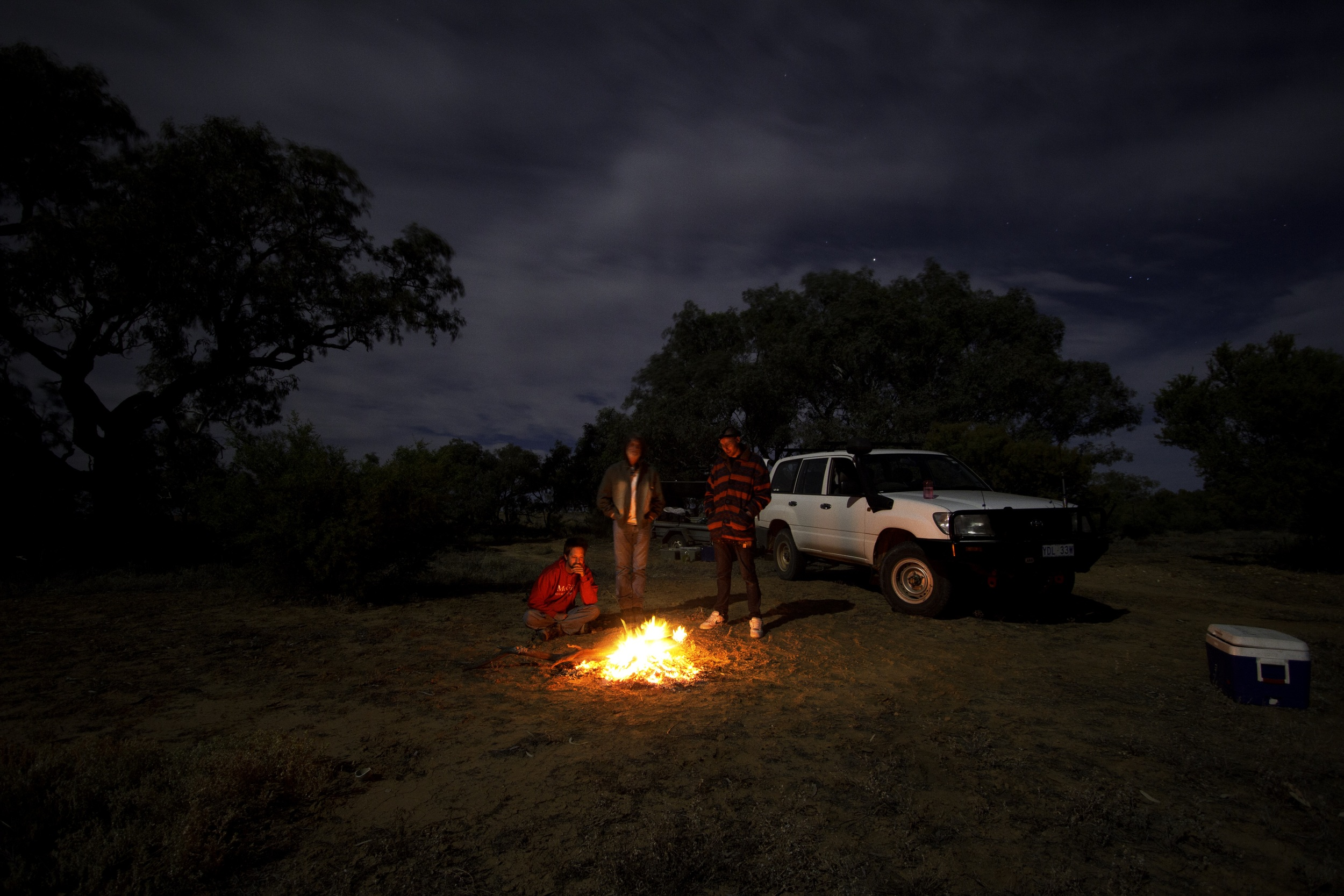Campfire with the trailer during happier times.