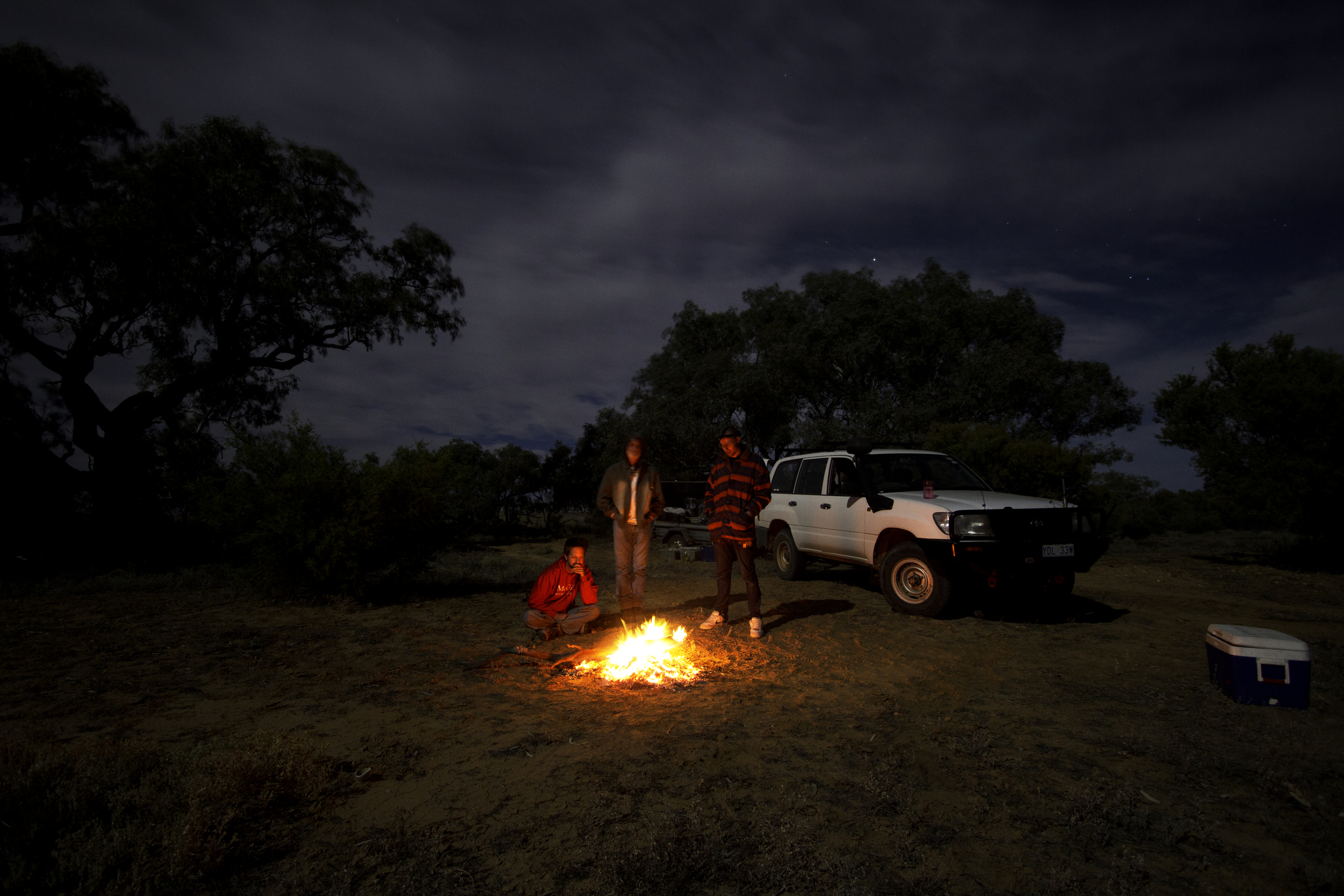 Campfire after a hard day's lizard catching. Billie Kalina Station, South Australia, 2011. Photo by Angus Kennedy. From  this post .