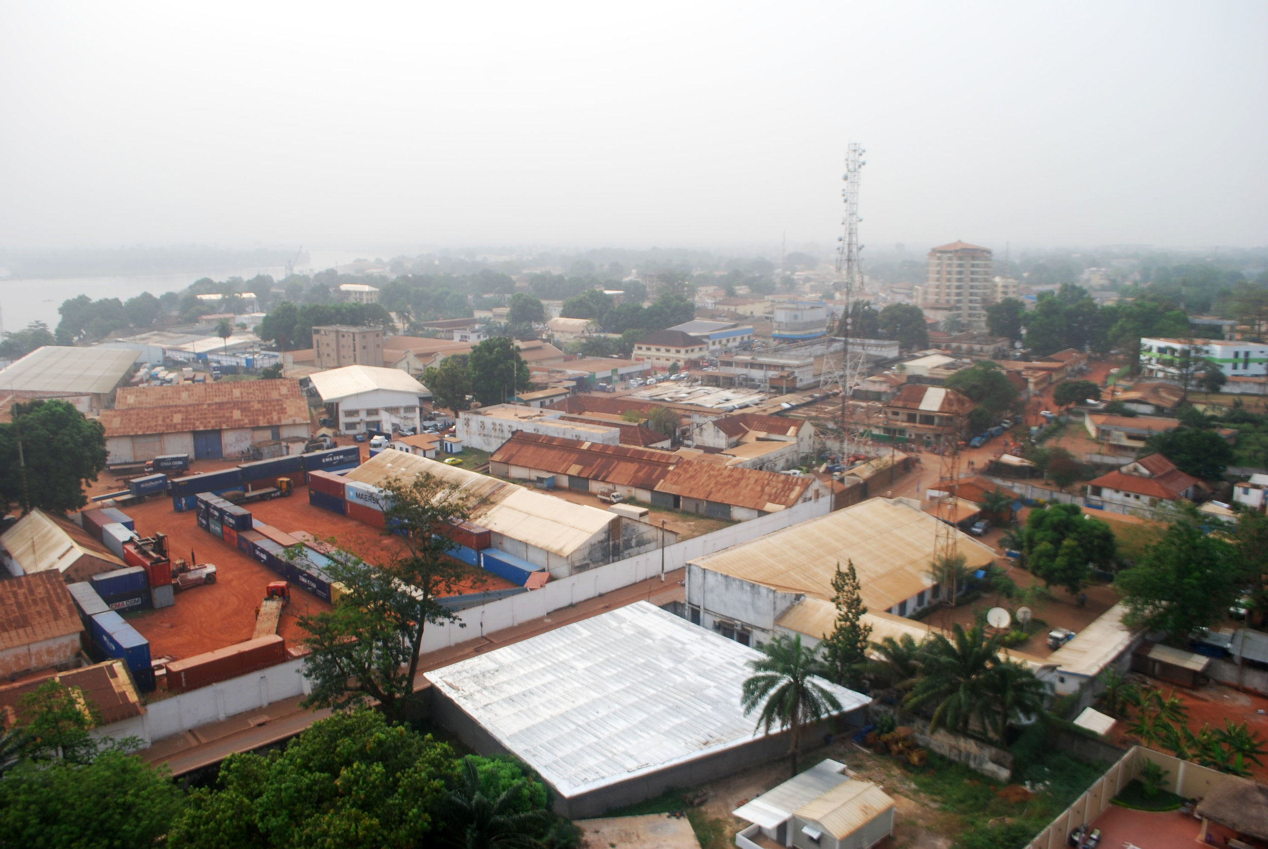 The view over Bangui from my host's balcony in the Skaiky Building. I spotted a peregrine falcon perched on the cell tower to the center-right.