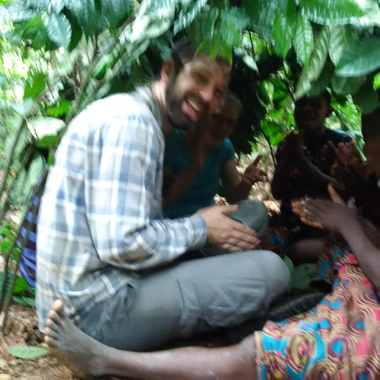 Singing with Ba'aka women inside a newly-built hut.