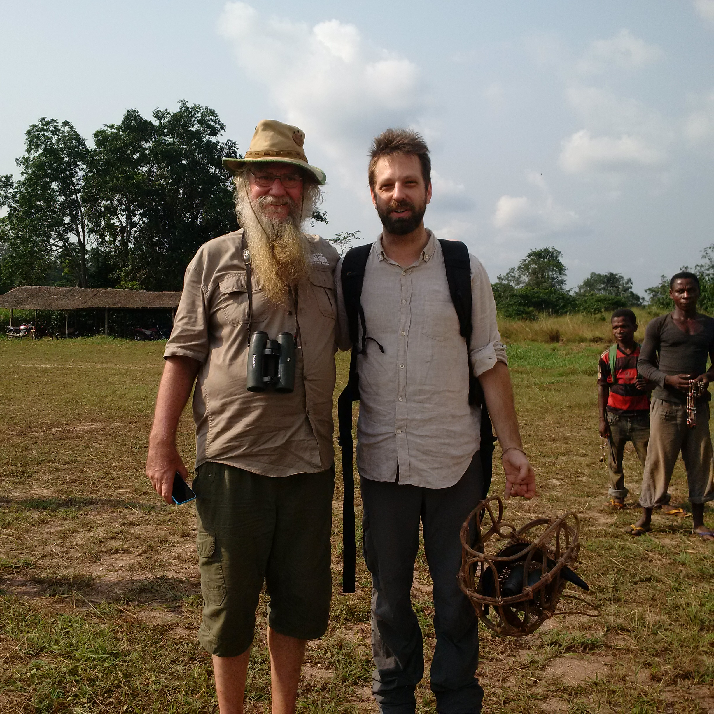 Rod Cassidy (L), owner of Sangha Lodge, and me at the Bayanga airstrip.