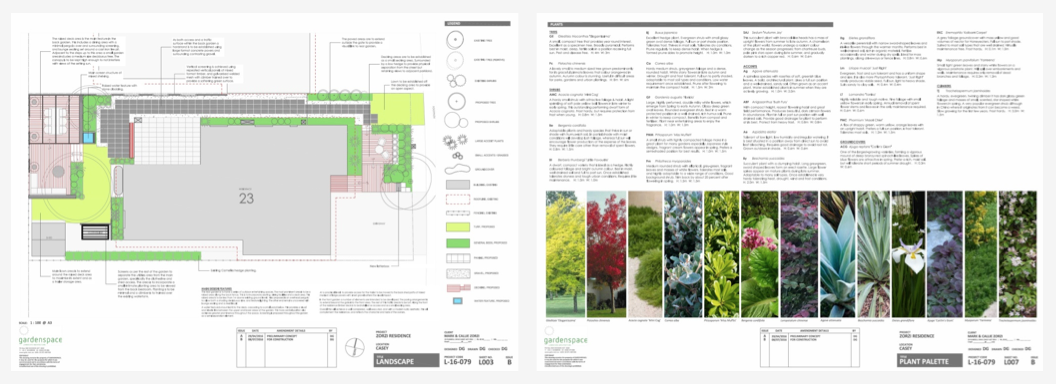 "A ""to-scale"" CAD drawn plan that develops the earlier ideas to more specific level. At this stage the specification of the palette of materials and plants to be used is started. These are recommendations for client selection."