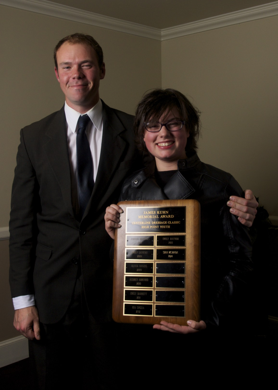 2014's Jim Kuhn Award Recipient Sian McBride with Martin Kuhn -