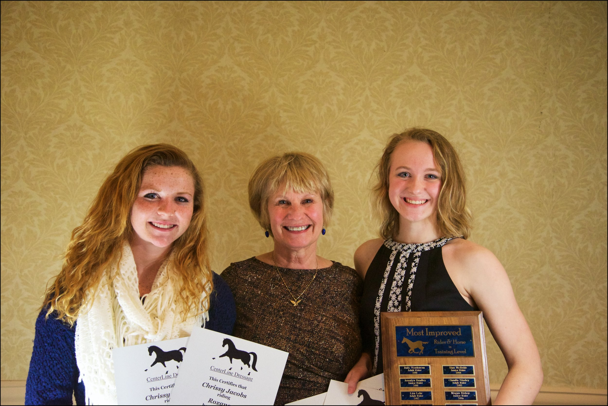 Chrissy Jacobs (left) & Megan Bishop (right) with their mount's owner Chrissy Moran (center)