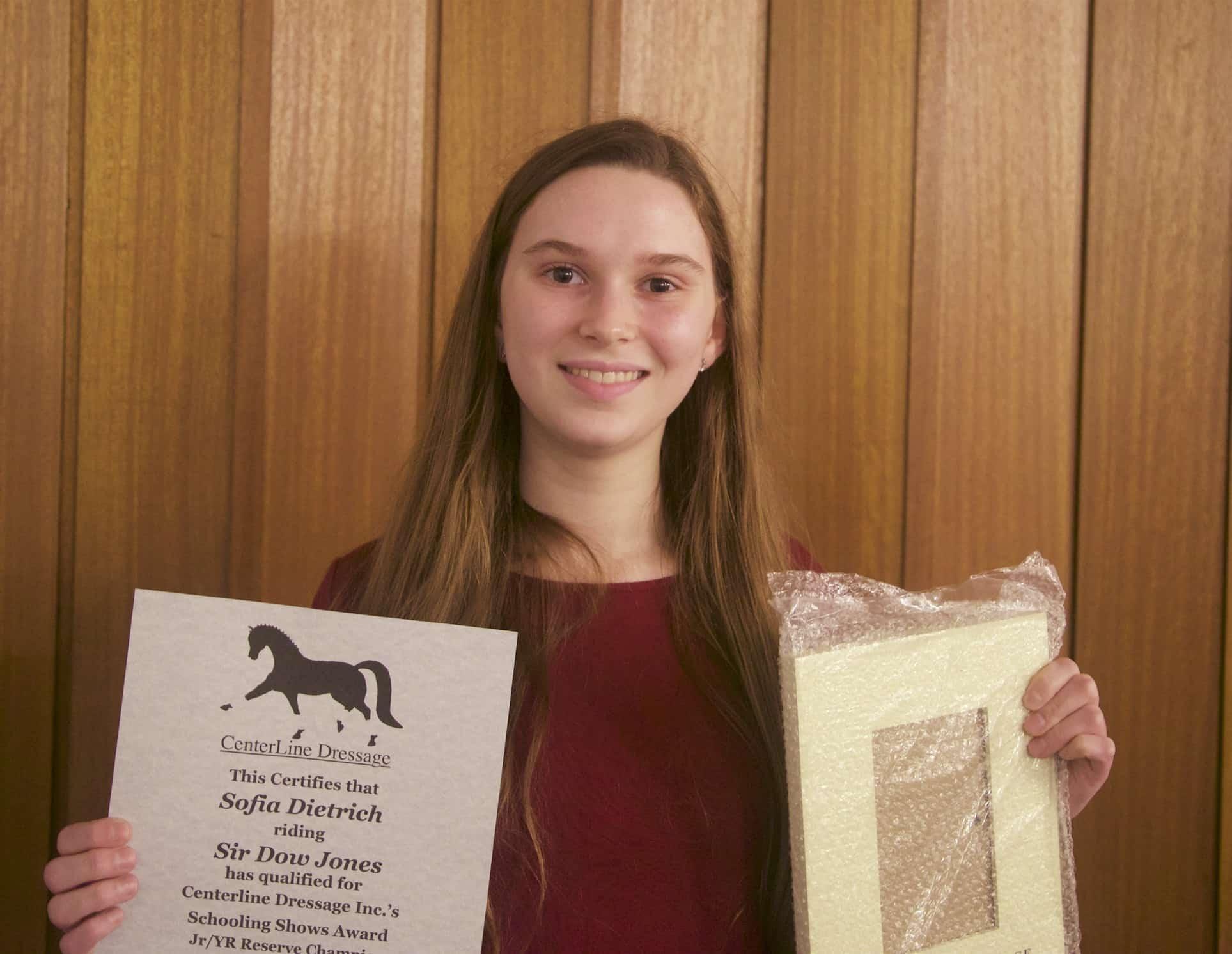 Sofia Dietrich, Training Level Schooling Reserve Champion Jr/YR