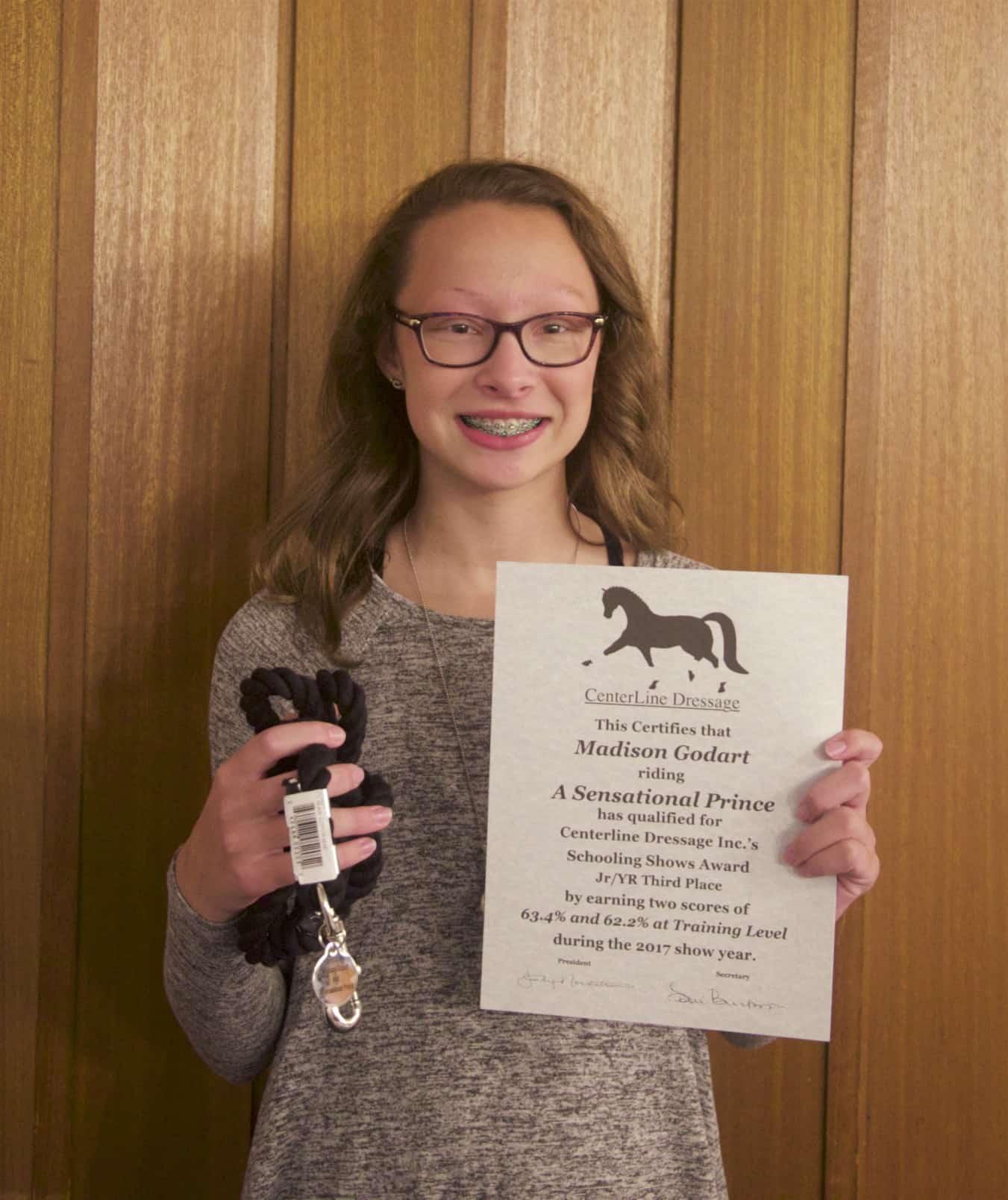 Madison Godart, Training Level Schooling Third Place Jr/YR