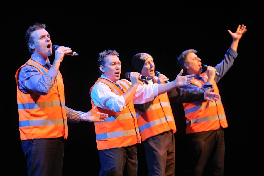 THE FOURMEN - A well dressed foreman enters stage and addresses the audience as if to begin a safety induction, but instead leads a brilliant vocal performance.