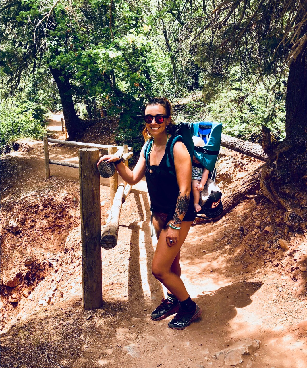 """Strong work Tara!  """"Using my fitness to carry my cousin's baby on my back on the way to Diamond Fork Hot Springs"""""""