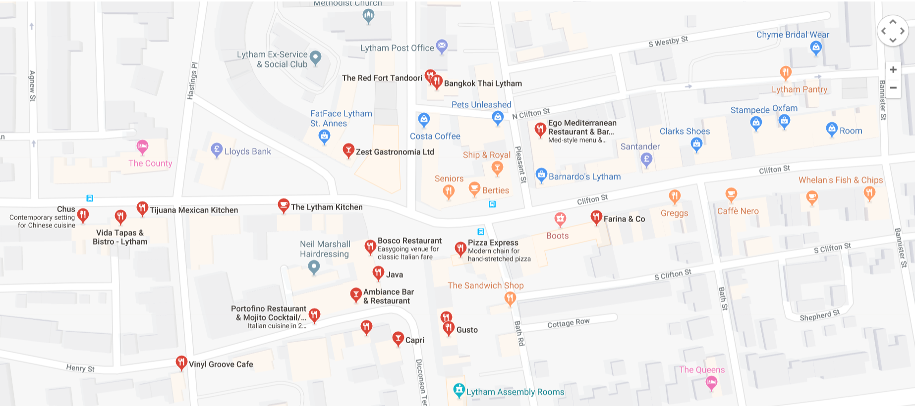 Here is just a small selection of the restaurants, bistros, cafes and bars in Lytham. There are plenty more to choose from!