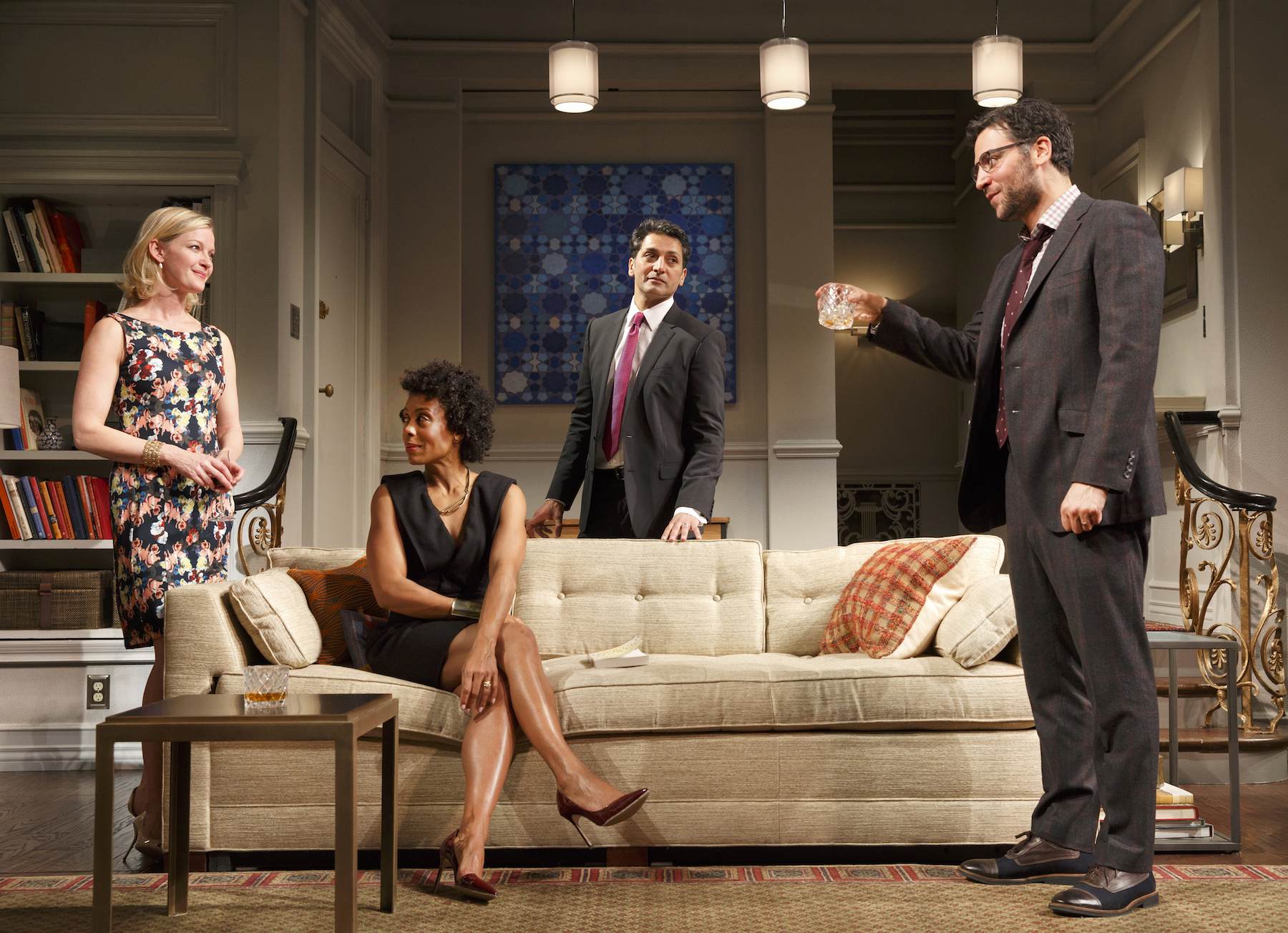 Gretchen Mol, Karen Pittman,  Danny Ashok and   Hari Dhillon in   Disgraced  . Photo by Joan Marcus