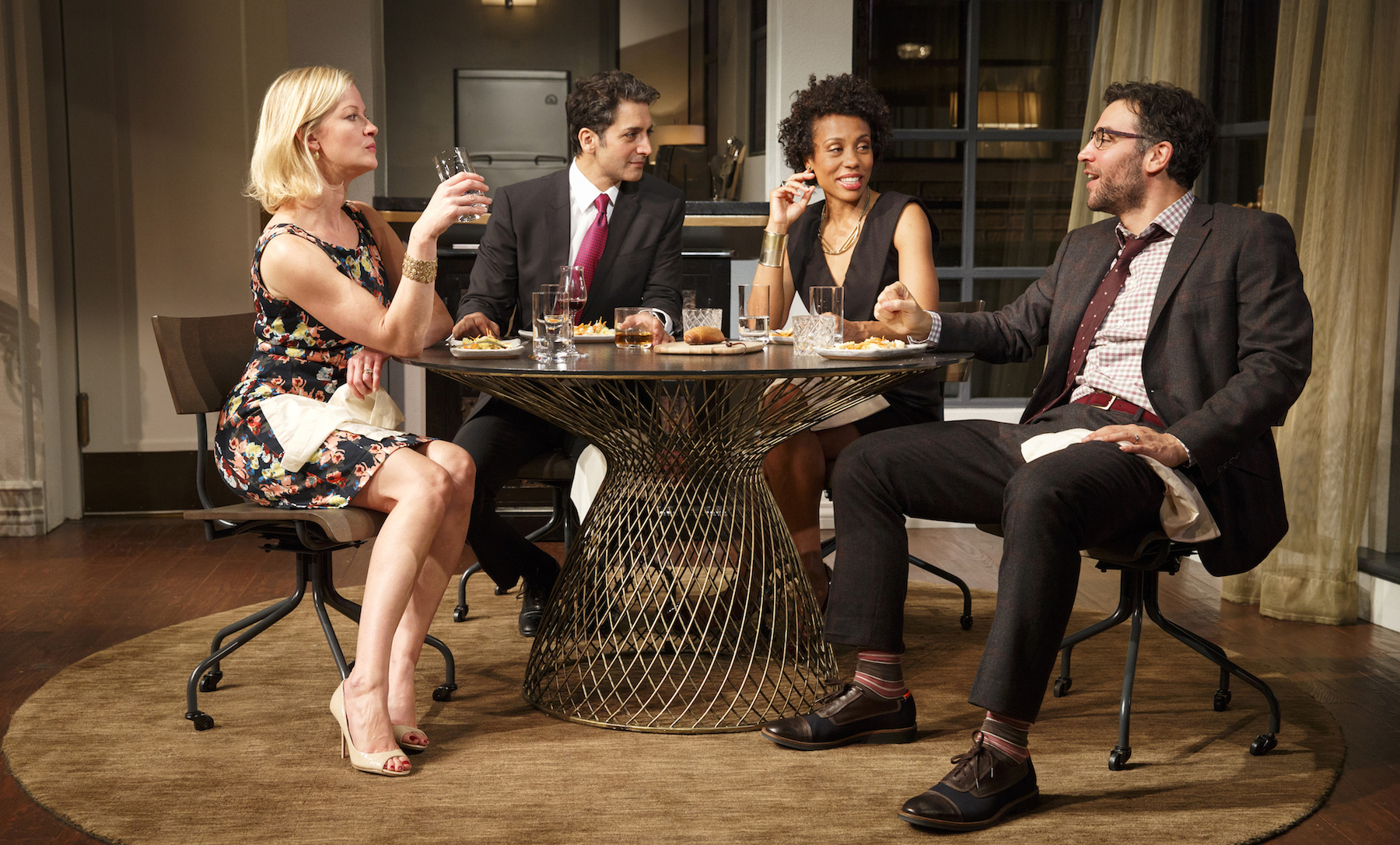 Gretchen Mol,   Danny Ashok, Karen Pittman and   Hari Dhillon in   Disgraced  . Photo by Joan Marcus