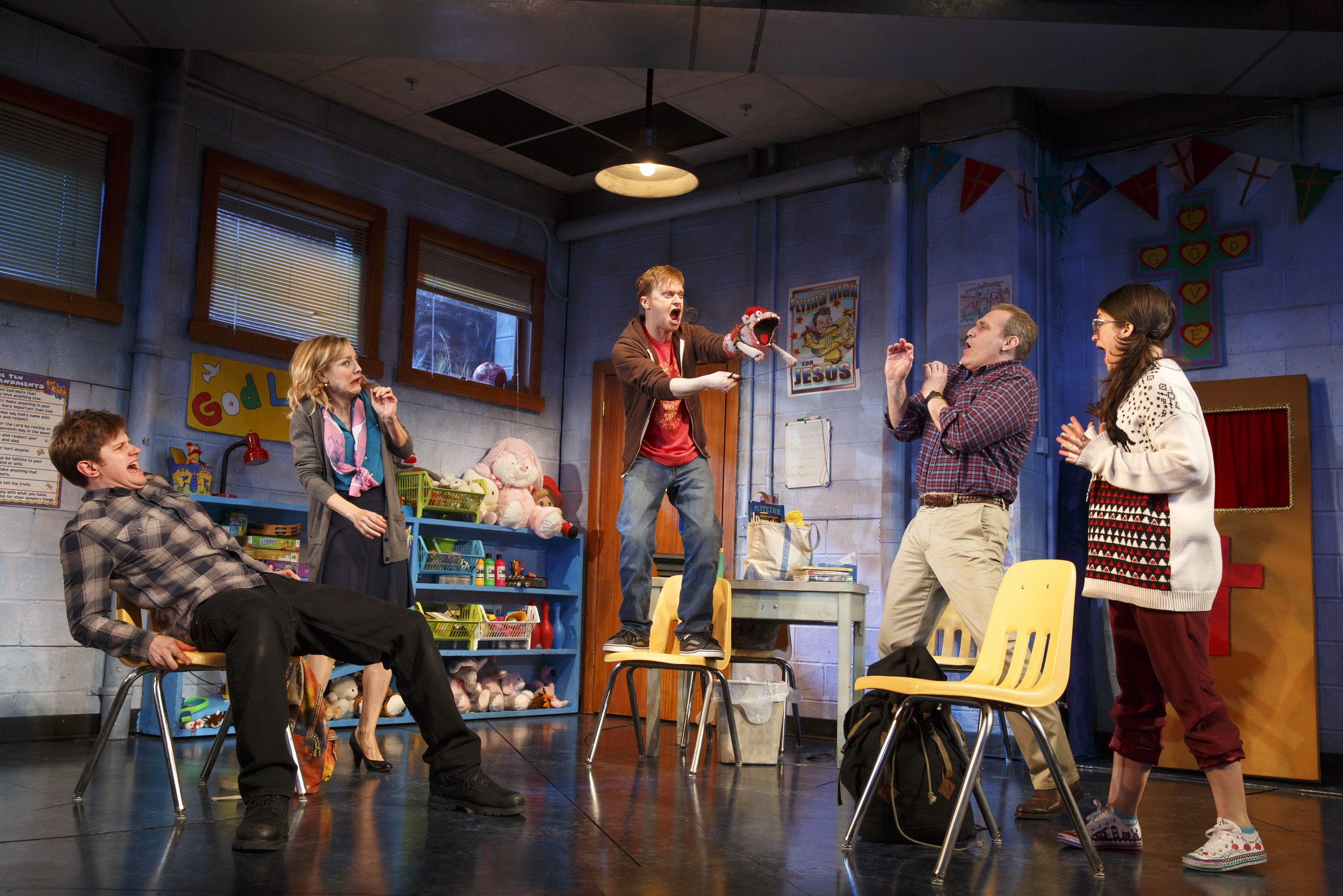 Michael Oberholtzer, Geneva Carr, Steven Boyer, Marc Kudisch and Sarah Stiles in  Hand to God . Photo by Joan Marcus