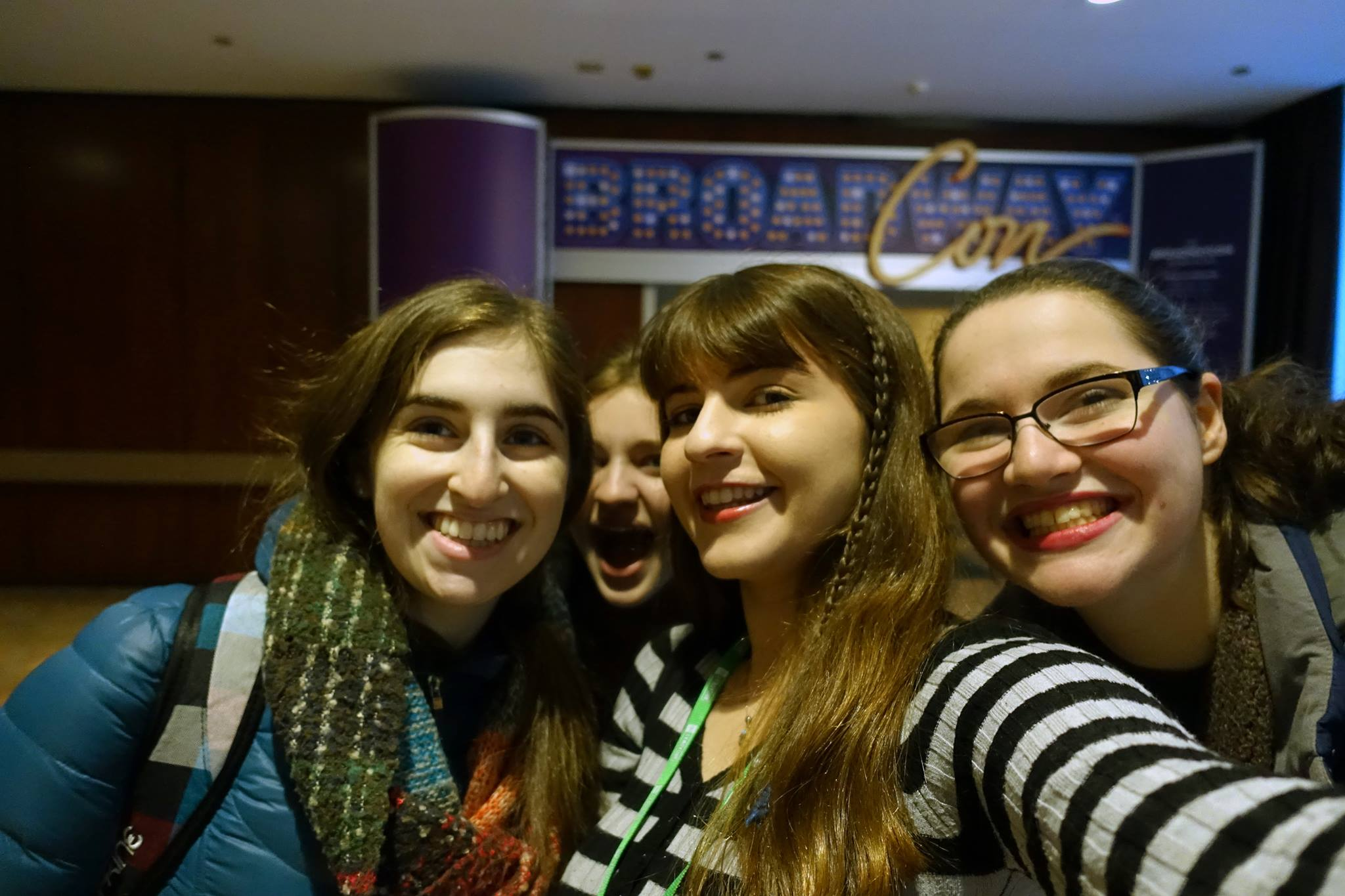 From left to right: Rachel, Evan, Me, and Anabel in front of the Broadway Con marketplace