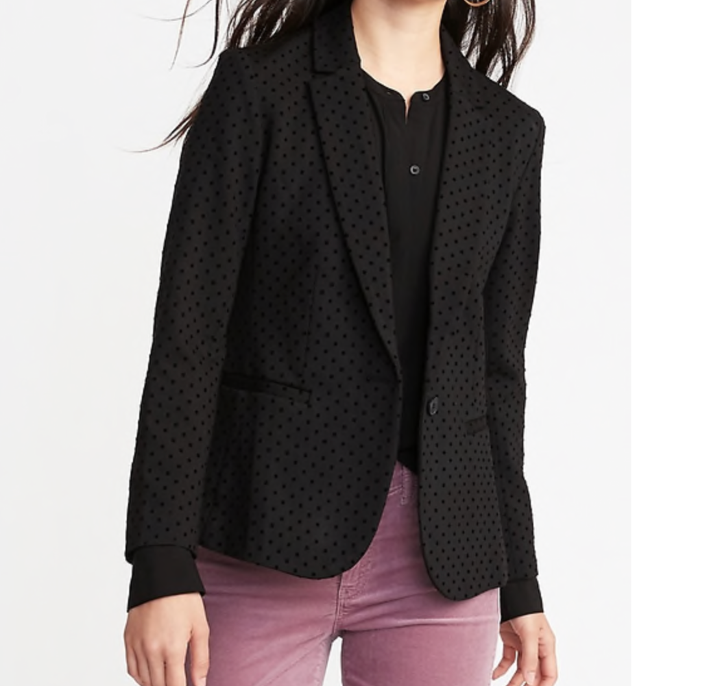 Try a blazer with a subtle pattern or some texture if plain black ones bore you!