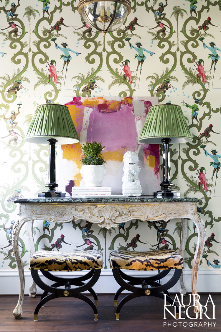 Wallpaper: Singeries by Schumacher, Lamps: Ralph Lauren via Circa, Art: Huff Harrington, Stools: Scalamandre Tiger Upholstery, Console: William Word Antiques