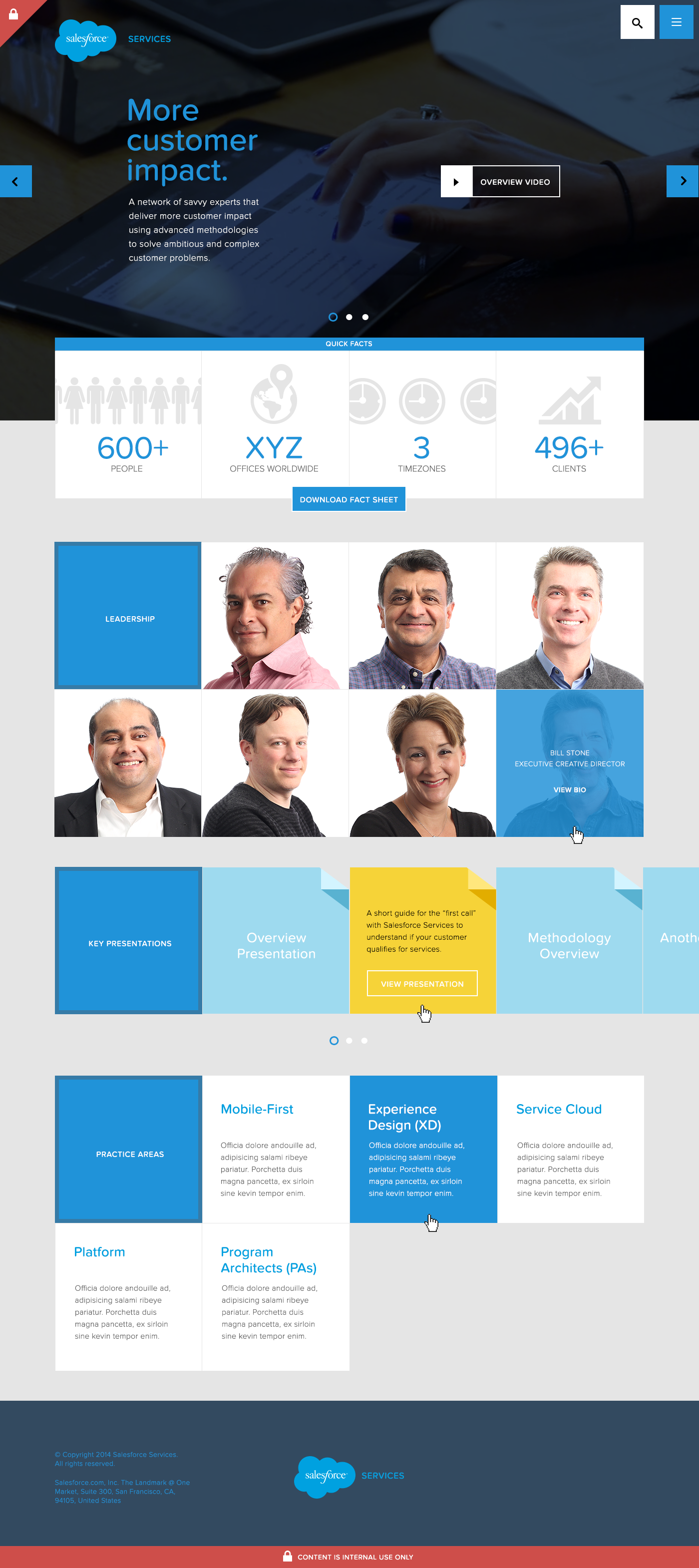 Close up view of the homepage design