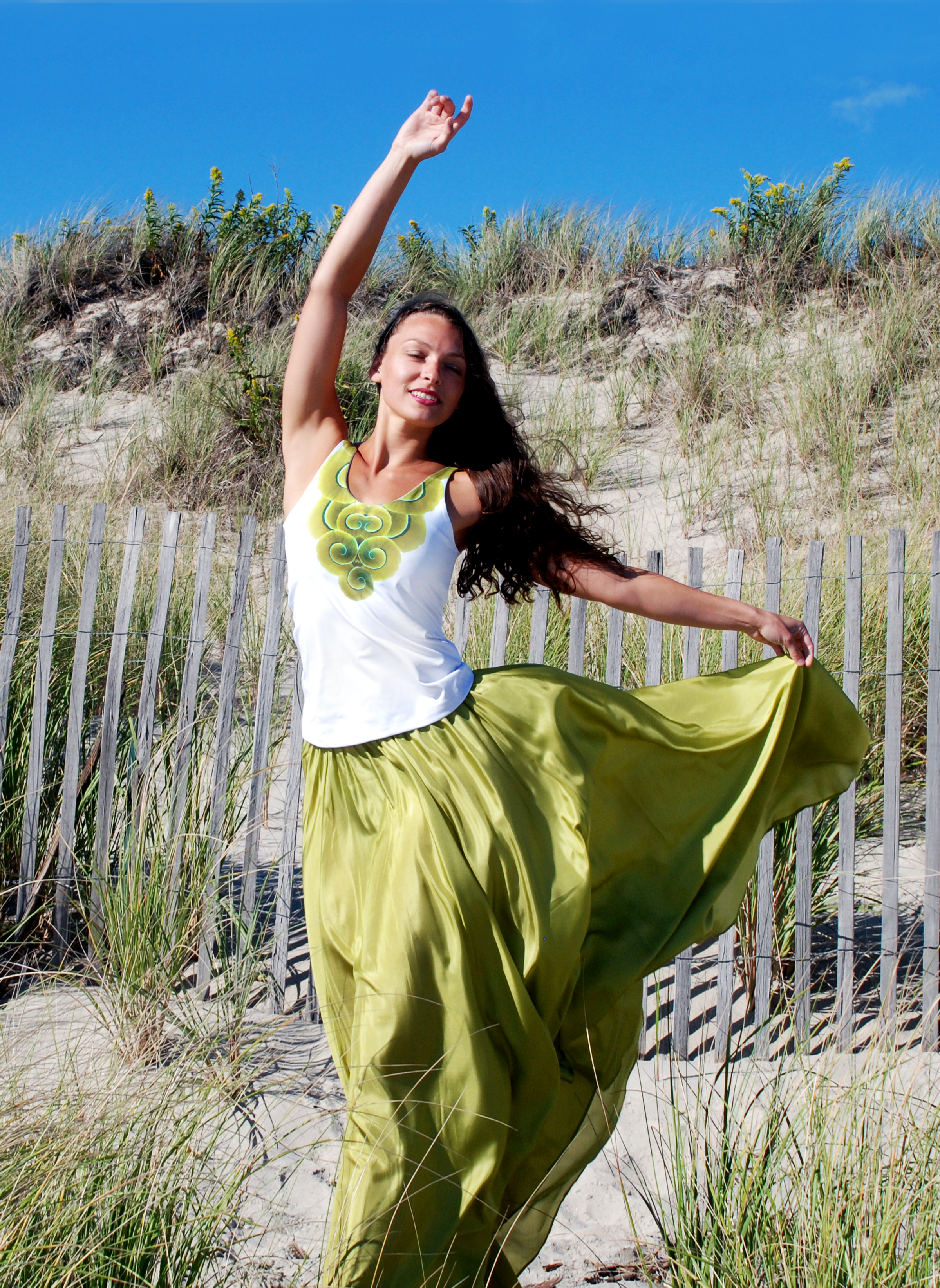 tiwia dive deep emily green silk skirt scoop neck arm above head 1 gallery shots.png