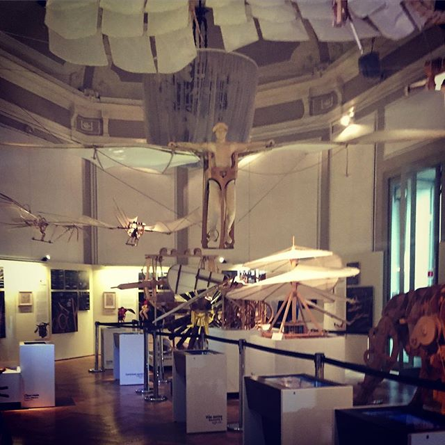 Amazing and inspiring #inventions of #leonardodavinci, including the #flyingmachine aka #ornithopter at the exhibition of Da Vinci's inventions and secrets in #Milan #Italy #codexatlanticus #robots #instruments #paintings and more.