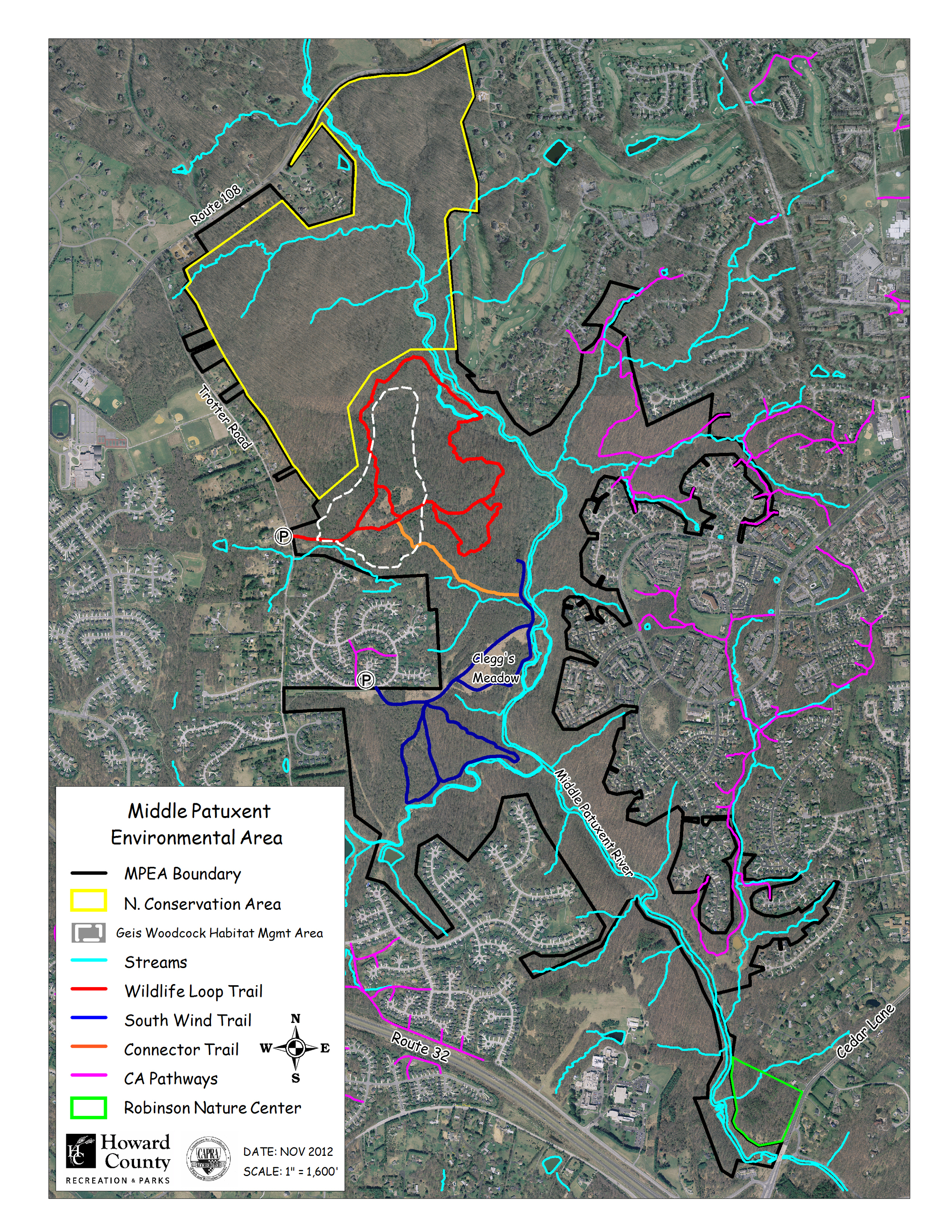 A Map of the MPEA with available trails highlighted. Columbia is to the east and Clarksville to the north and west.
