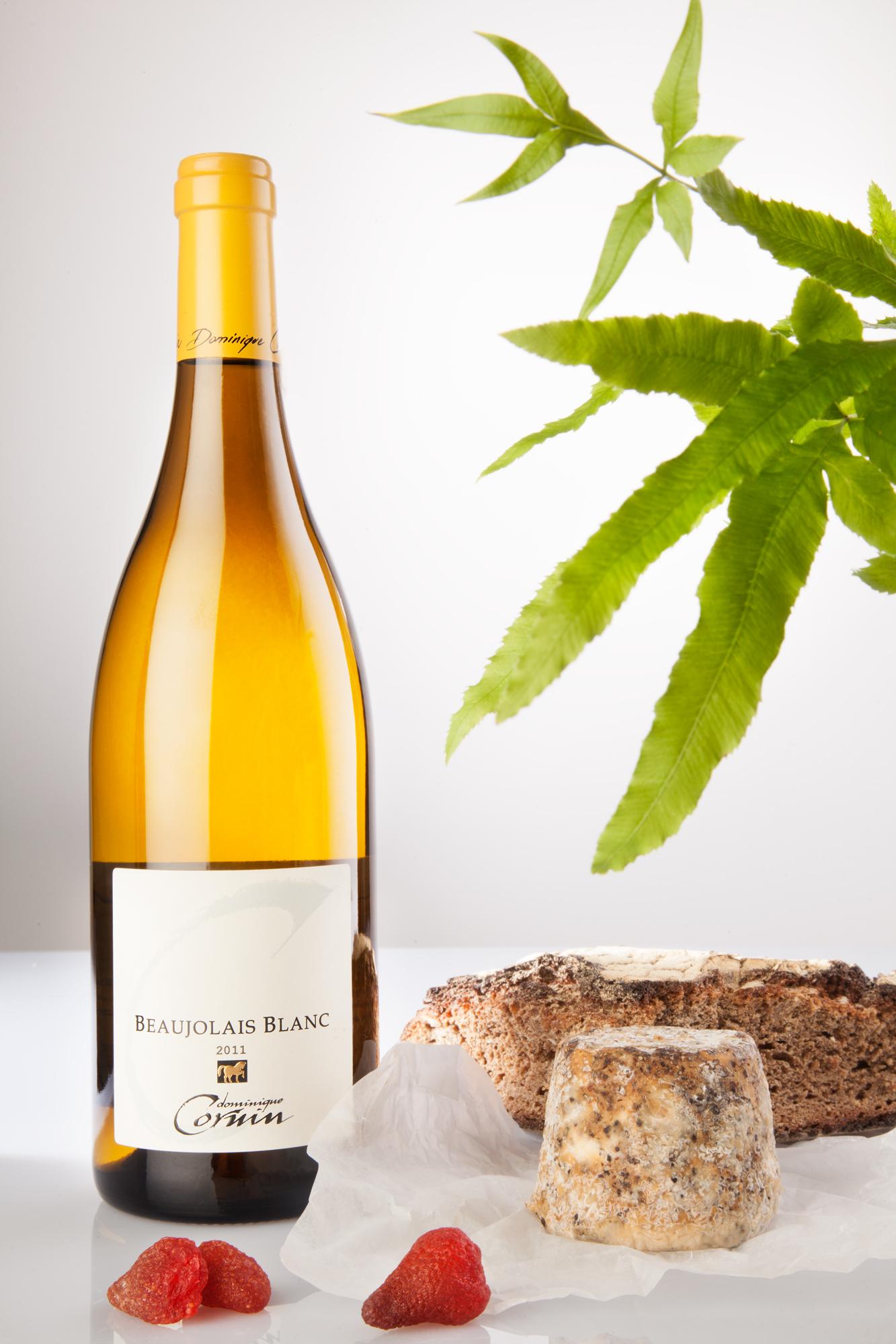 Studio Still Life , Wine bottle Beaujolais Blanc.