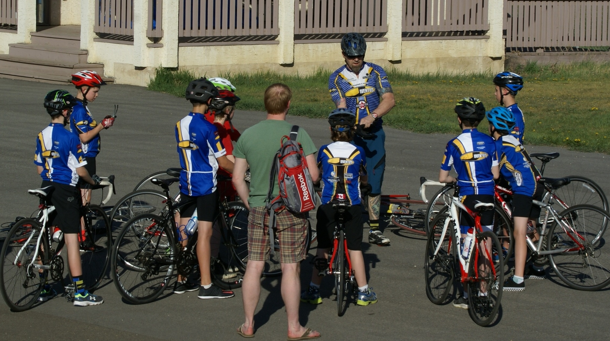 Helmets on, bikes checked . . . ready to ride!