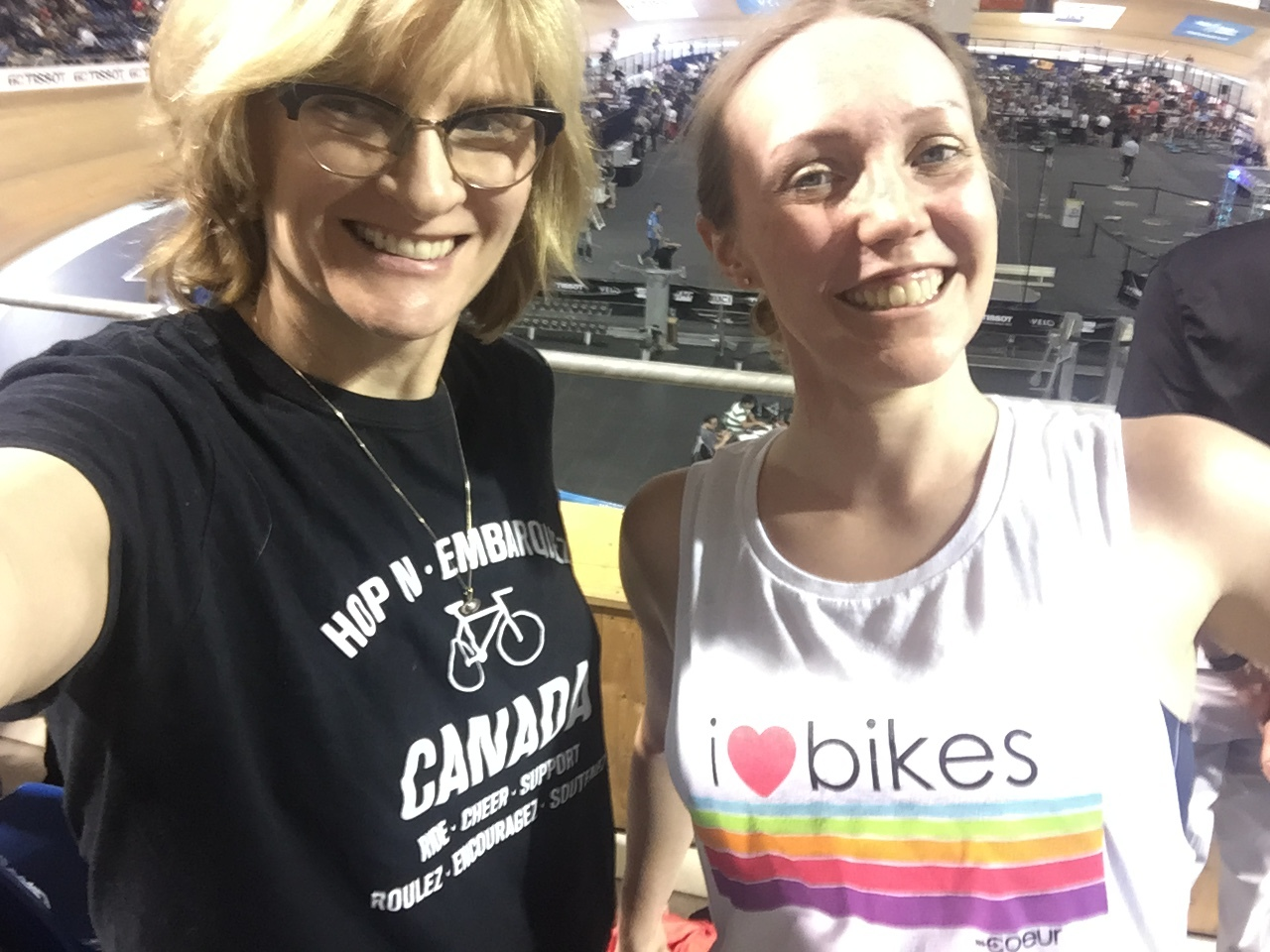 Gail and Lindsay enjoy the action at the World Cup, but are more excited for their own upcoming track time.