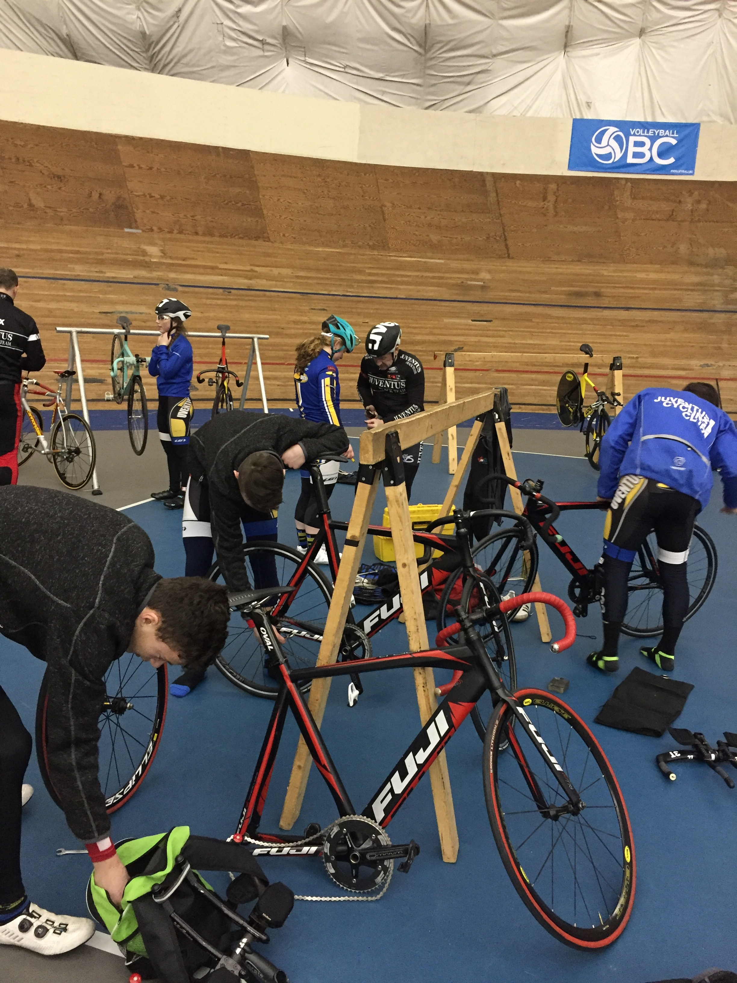 Team Juventus getting familiar with the 200 m Harry Jerome Velodrome in Burnaby BC.