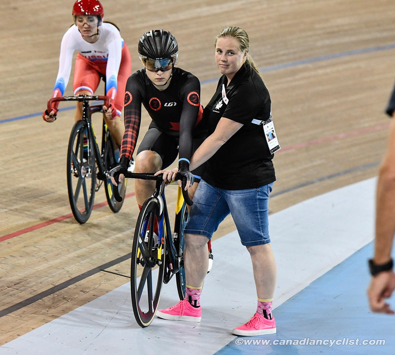 Coach Jenny Trew sets Devaney for the Scratch Race -