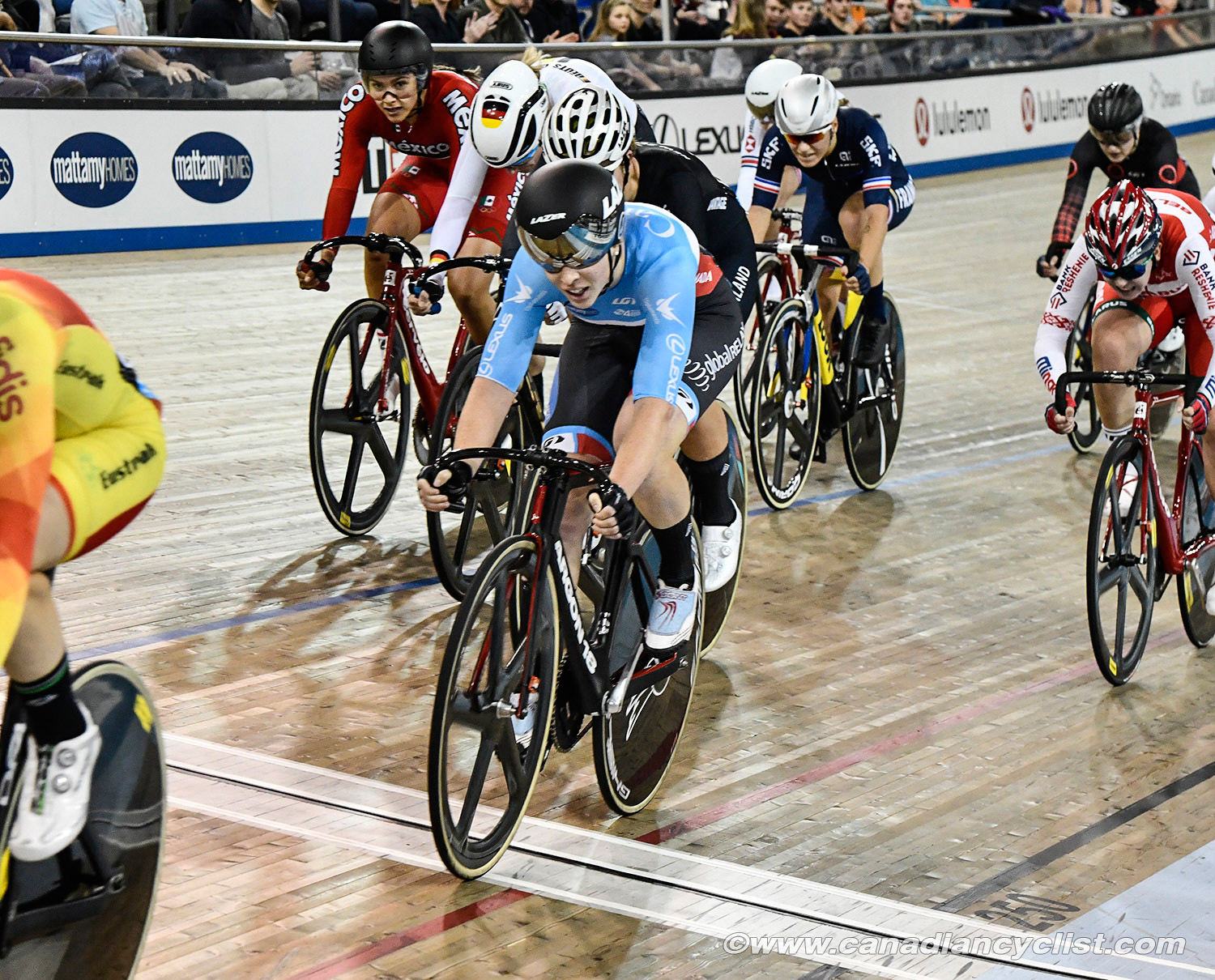 Scratch Race action with 2 Canadians in the mix -