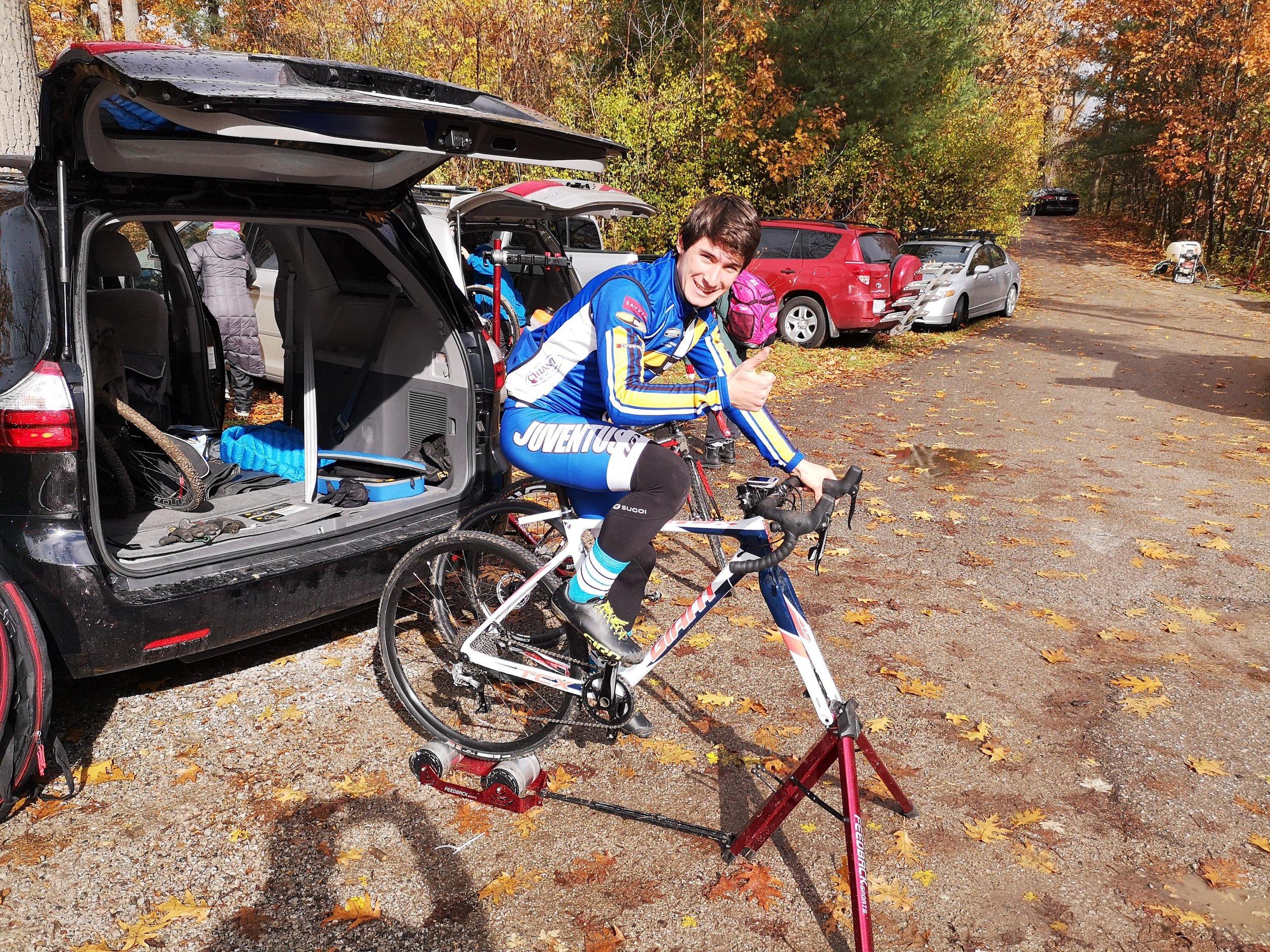 Ryan MacLean warming up -