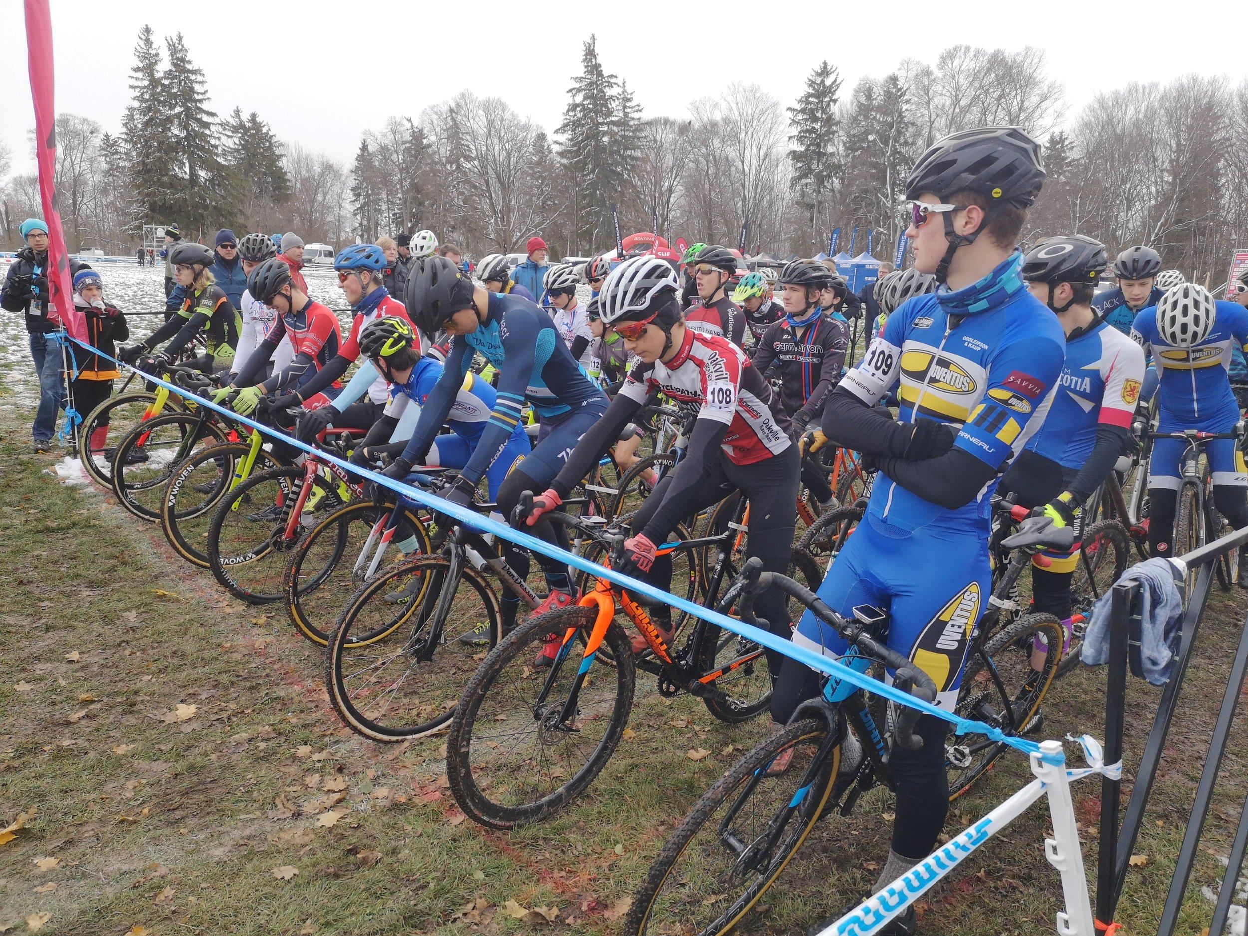 Luke and Ryan on start line of Sunday's UCI race