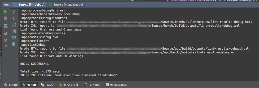 """Success message after running """"lintDebug"""". Two sets of reports for a project with two modules."""