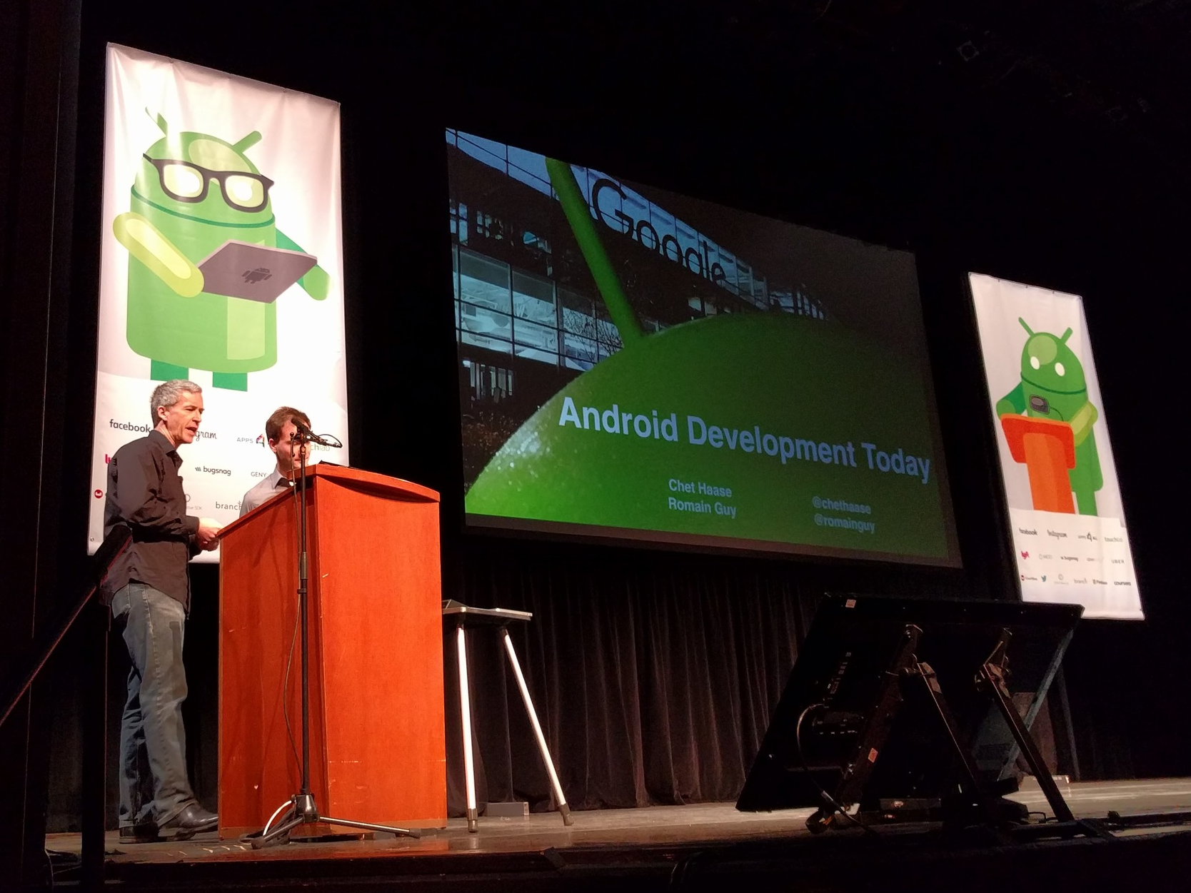 """The keynote: """"Android Development Today"""" by  Chet Haase  and  Romain Guy"""